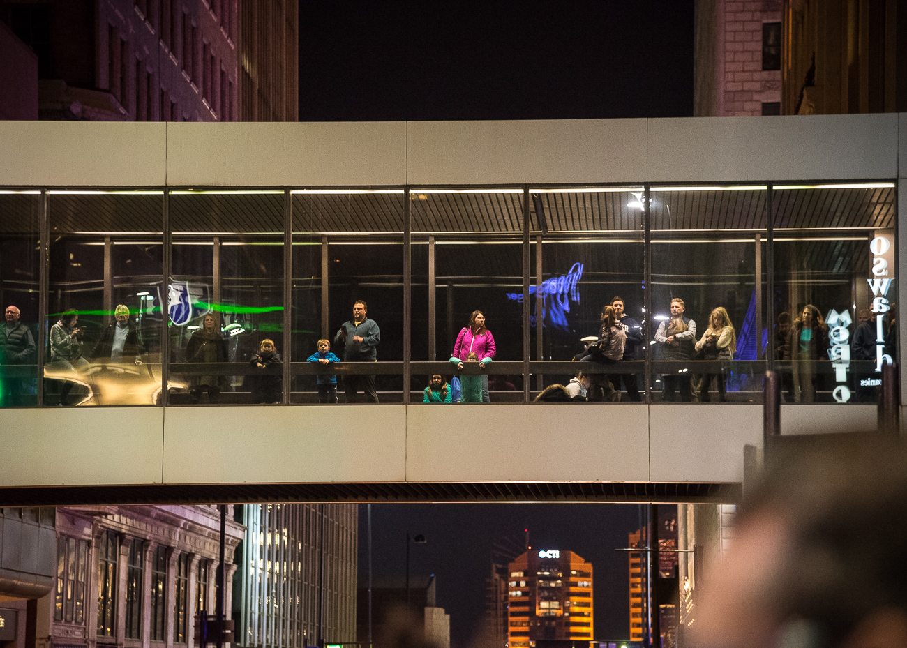 <p>Some folks got creative with how they'd watch the tree lighting. / Image: Phil Armstrong, Cincinnati Refined // Published: 11.24.18</p>