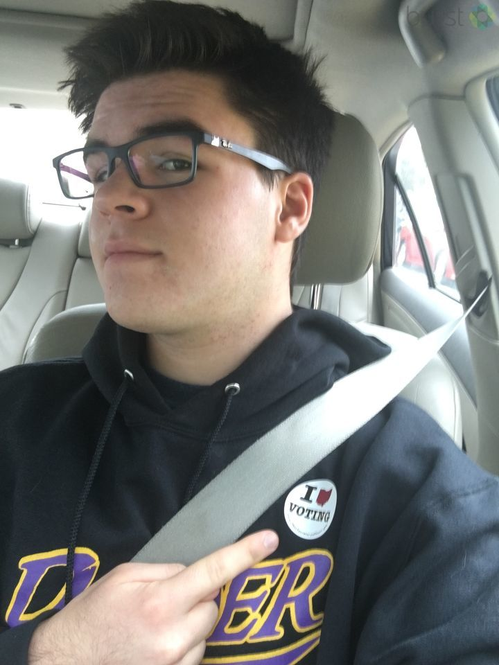 "A first-time voter in Reynoldsburg, who said ""I'm with her"" (submitted via Burst)"