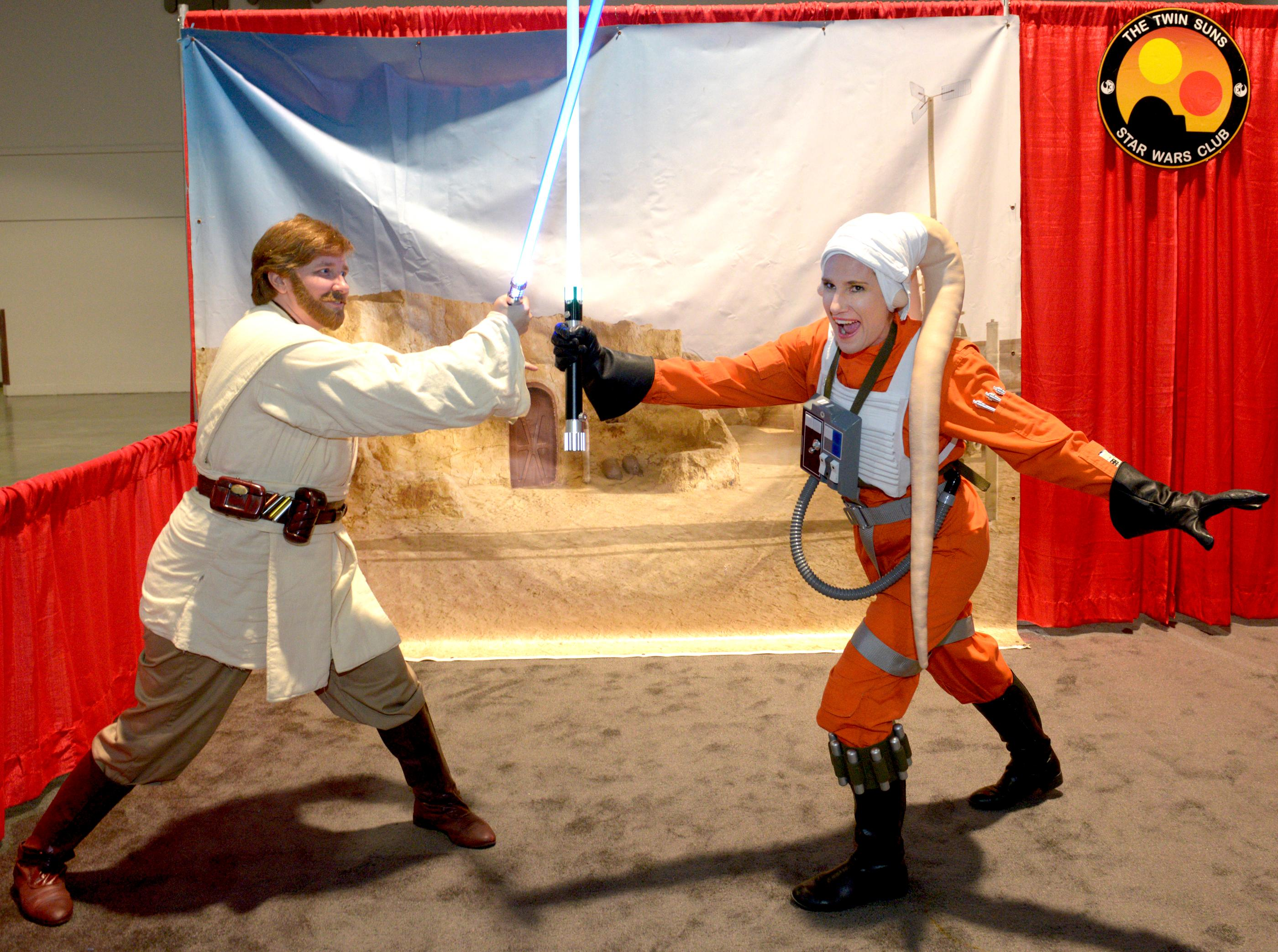 Star Wars characters pose with fans and have a lightsaber duel during the Brick Fest Live Lego Fan Experience at the Las Vegas Convention Center, September 9, 2017. [Glenn Pinkerton/Las Vegas News Bureau]
