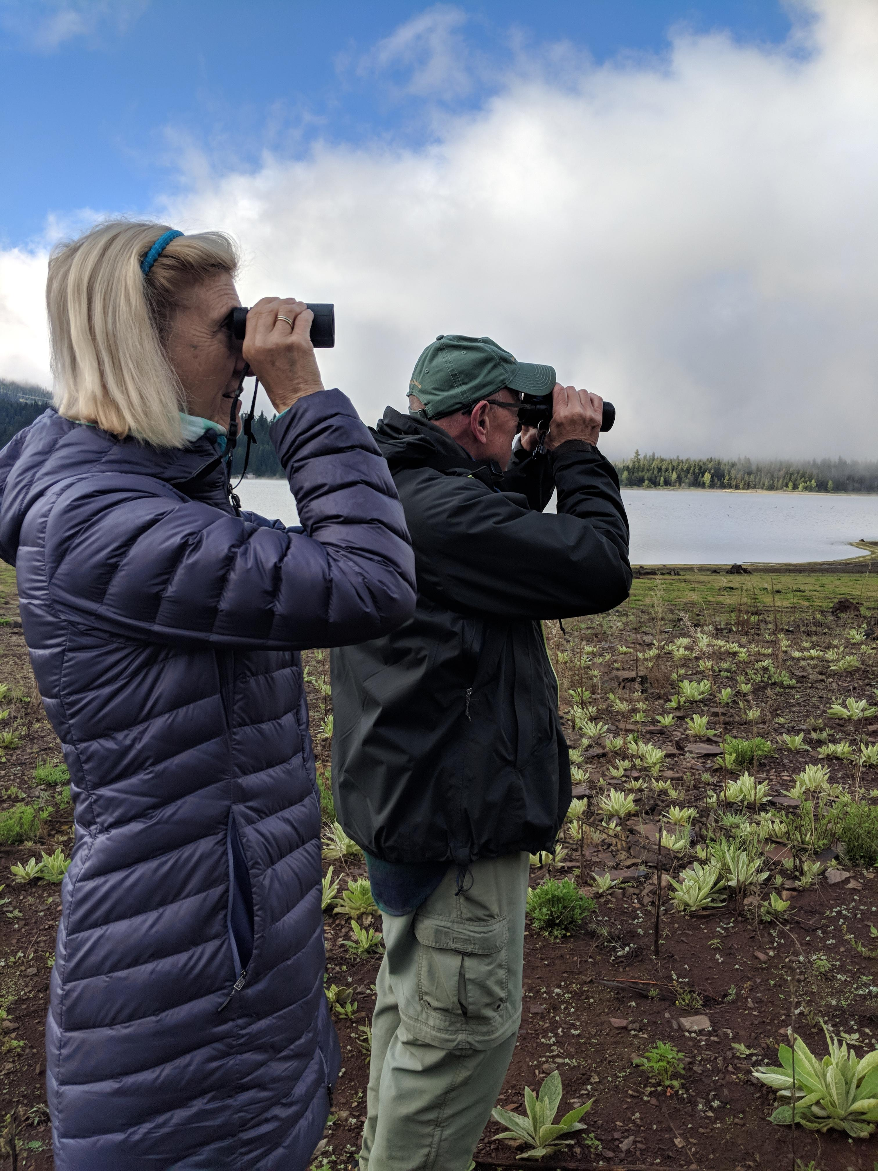 Photo by Shannon BrowneBioBlitz participants look for birds near Hyatt Lake.