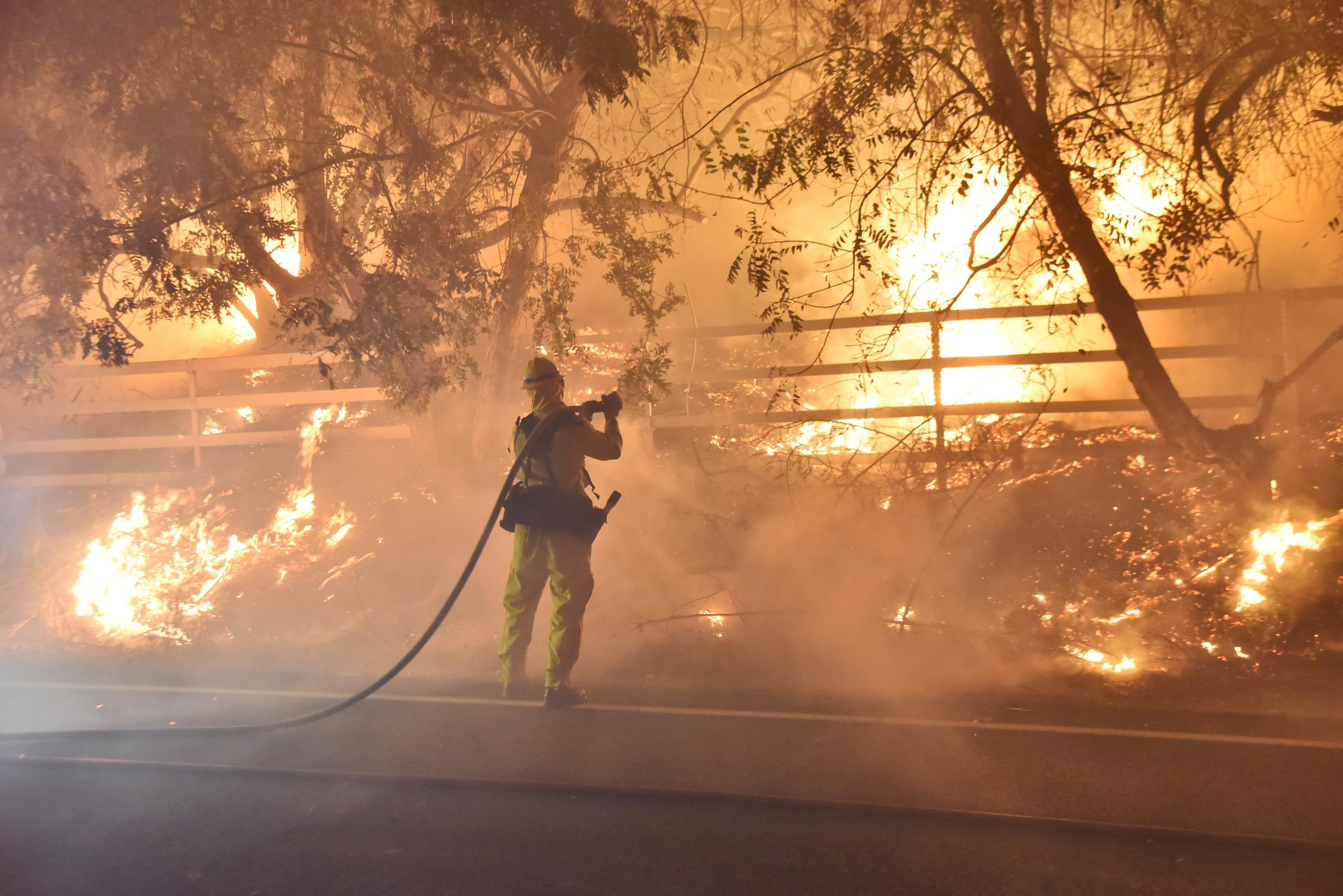 In this photo provided by the Ventura County Fire Department, a firefighter works to put out a blaze early Tuesday, Dec. 5, 2017, in Santa Paula, Calif. Authorities said the file broke out Monday and grew wildly in the hours that followed, consuming vegetation that hasn't burned in decades. (Ryan Cullom/Ventura County Fire Department via AP)