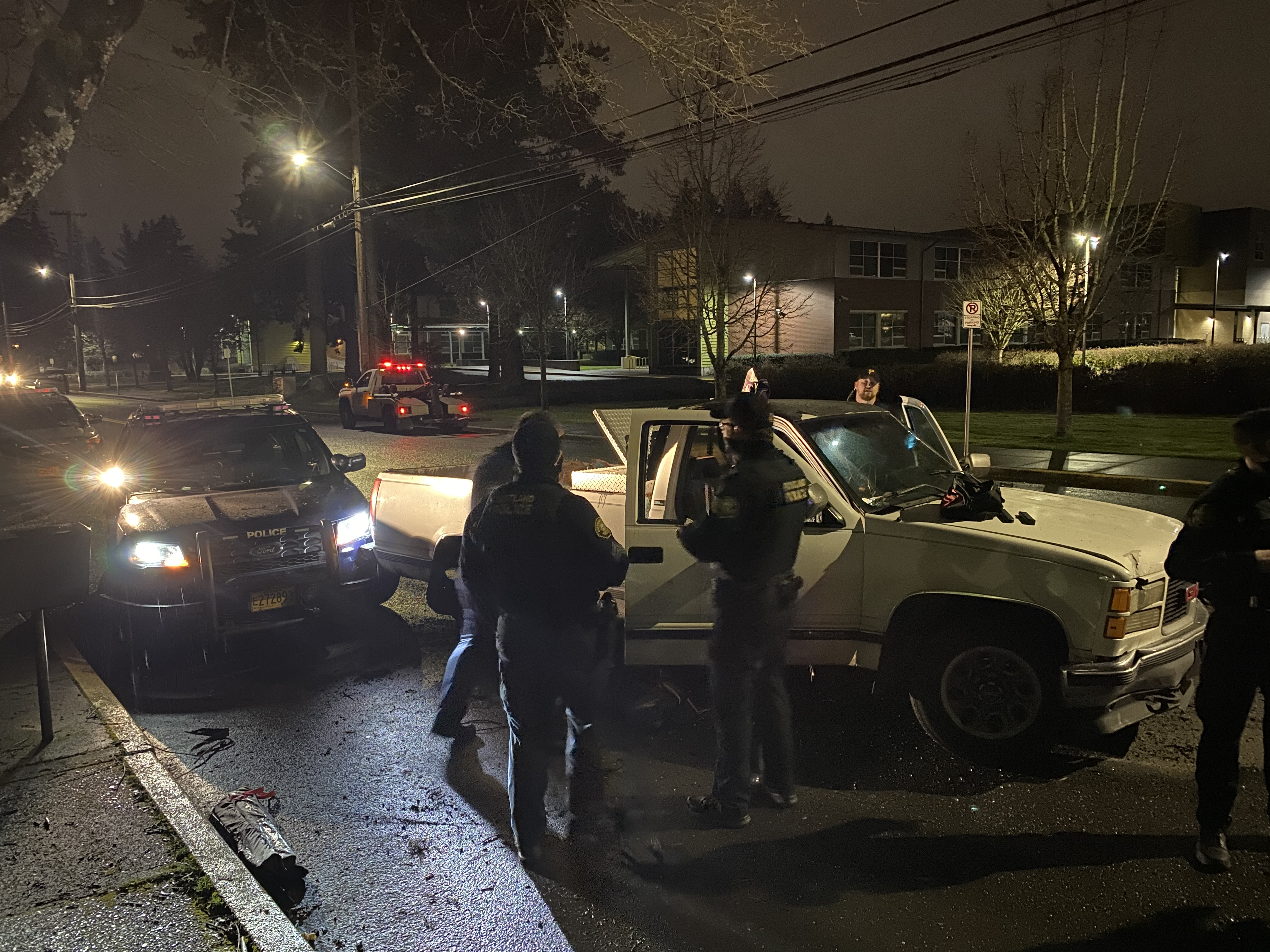 Portland police were in a standoff near Southeast 112th Avenue and Holgate Boulevard for more than three hours Friday night, March 5, 2021 with someone they said was a wanted felon. (Photo: Portland Police Bureau)
