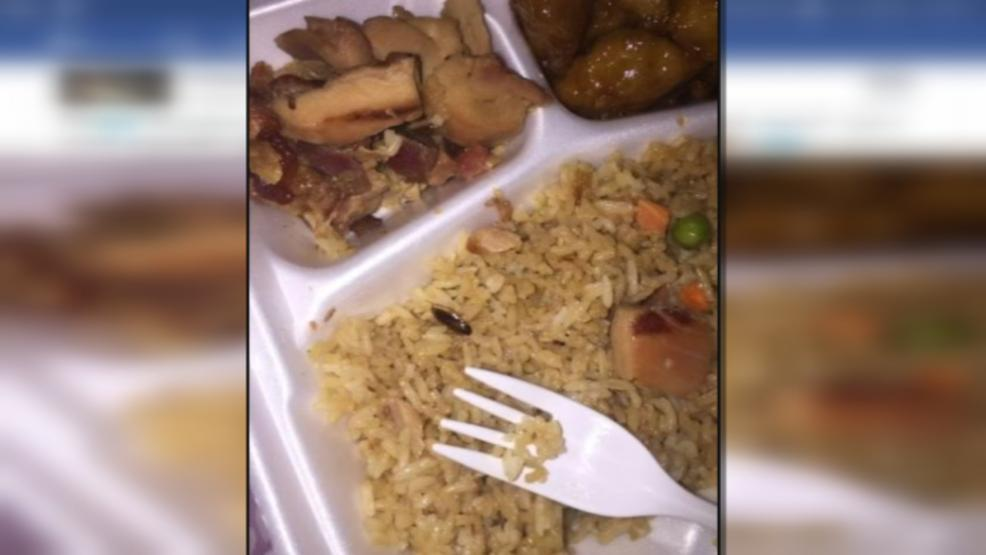 This photo of a dead cockroach in a bed of rice led to an investigation of the Cajun Express at Eastland Mall. (WSYX/WTTE)