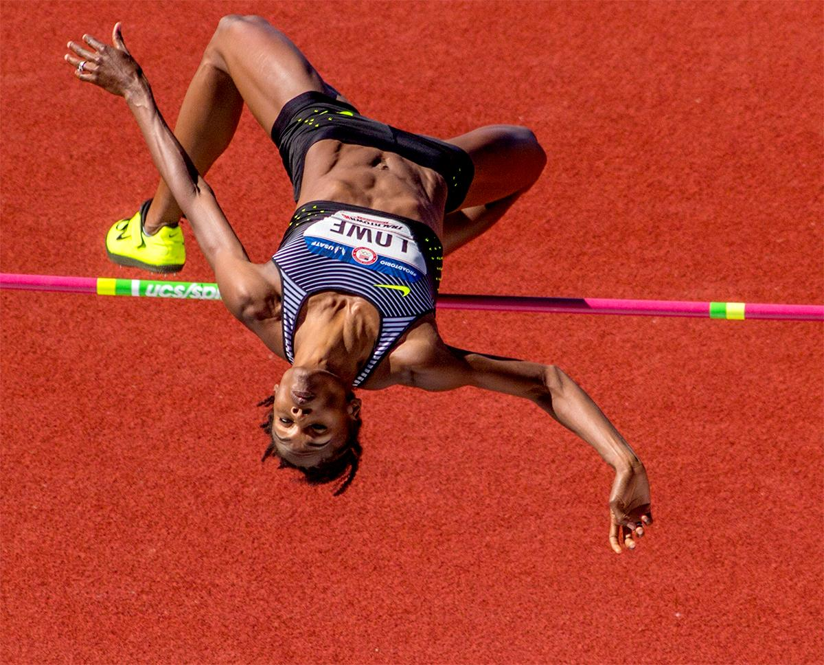 Nike's Chaunte Lowe clears the bar in the qualifying round of the women high jump. Lowe tied for first with a final height of 1.84m. Day one of the U.S. Olympic Trials Track and Field began on Friday at Hayward Field in Eugene, Oregon and will continue through July 10. Photo by August Frank, Oregon News Lab