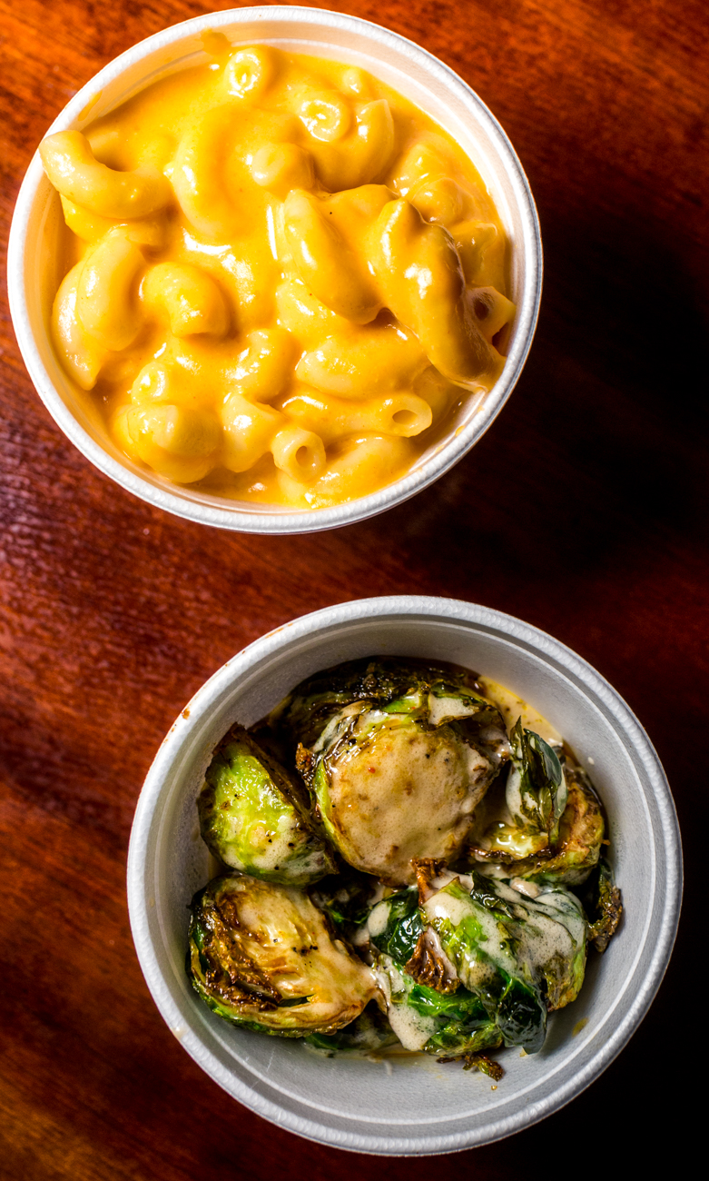 Macaroni and cheese and brussels sprouts / Image: Catherine Viox