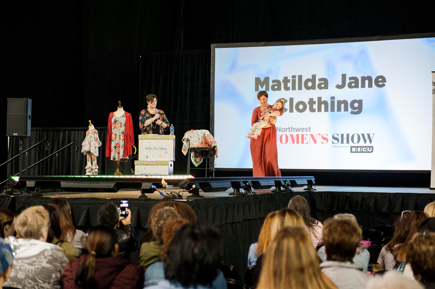 We were lucky enough to enjoy a fashion show from Matilda Jane Clothing on Day 1 of the So Northwest Women's Show, presented by BECU.{ } The PNW line strutted their unique pieces down the runway of the Washington's Lottery Main Stage. (Image: Elizabeth Crook / Seattle Refined)