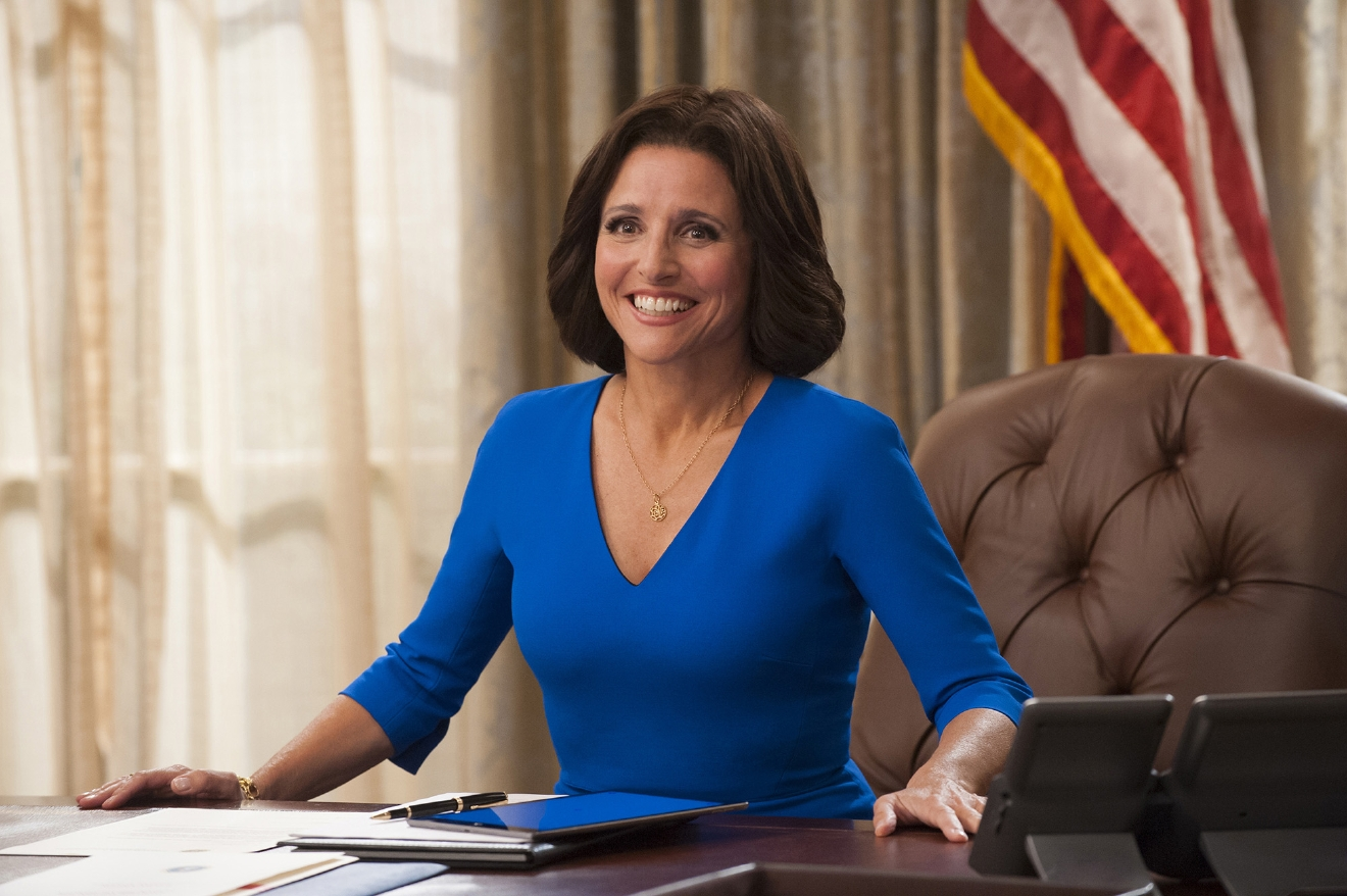 "In this image released by HBO, Julia Louis-Dreyfus appears in a scene from the comedy series, ""Veep.""  ?Game of Thrones? and ?Veep? are among the top contenders for the 68th prime-time Emmy Award nominations. The shows claimed the top drama and comedy series prizes at last year?s Emmy ceremony.  (Lacey Terrell/HBO via AP)"