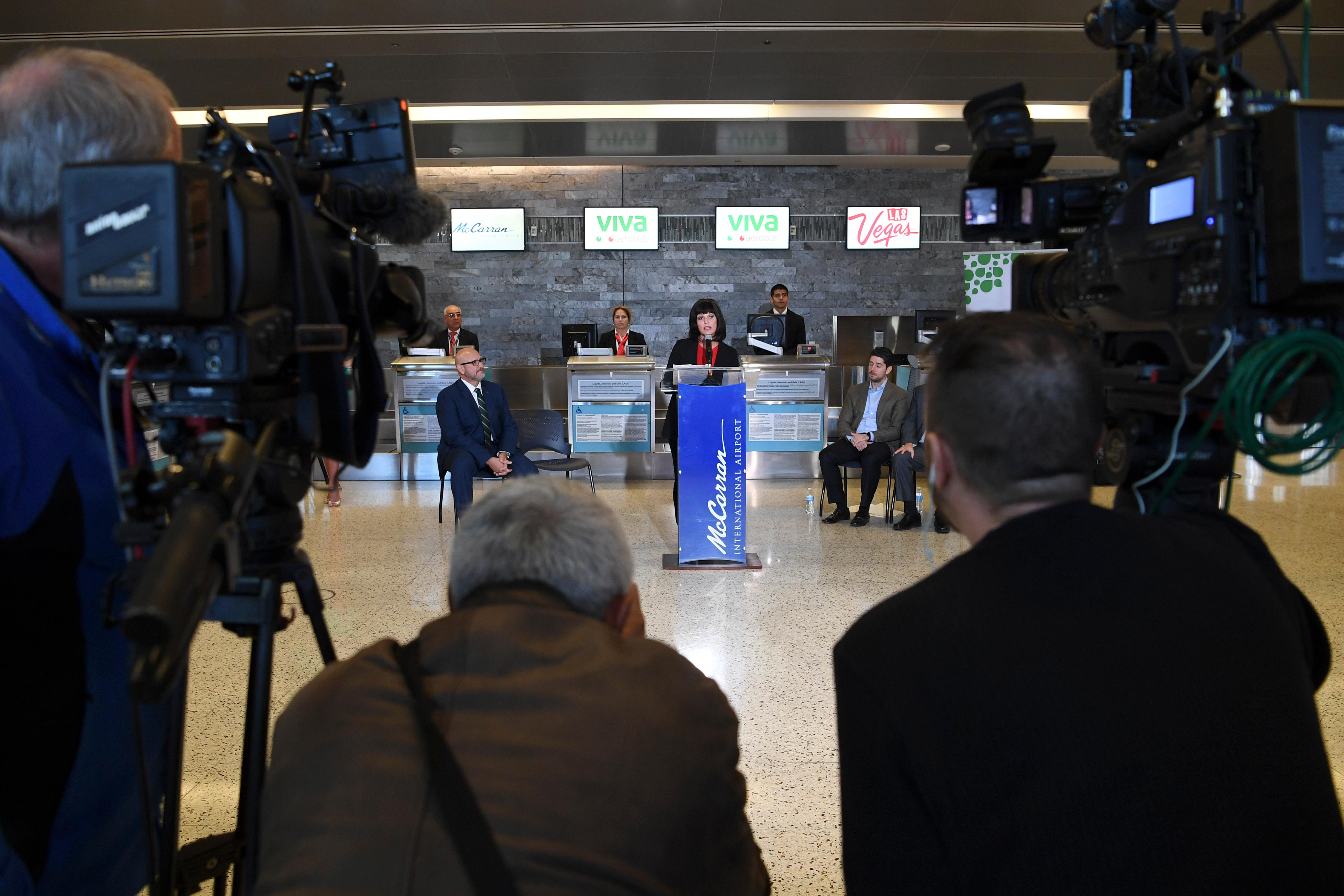 Clark County Aviation Director Rosemary Vassiliadis speaks during a news conference at McCarran International Airport to announce new Viva Aerobus service between Las Vegas and Mexico City Friday, December 15, 2017. CREDIT: Sam Morris/Las Vegas News Bureau