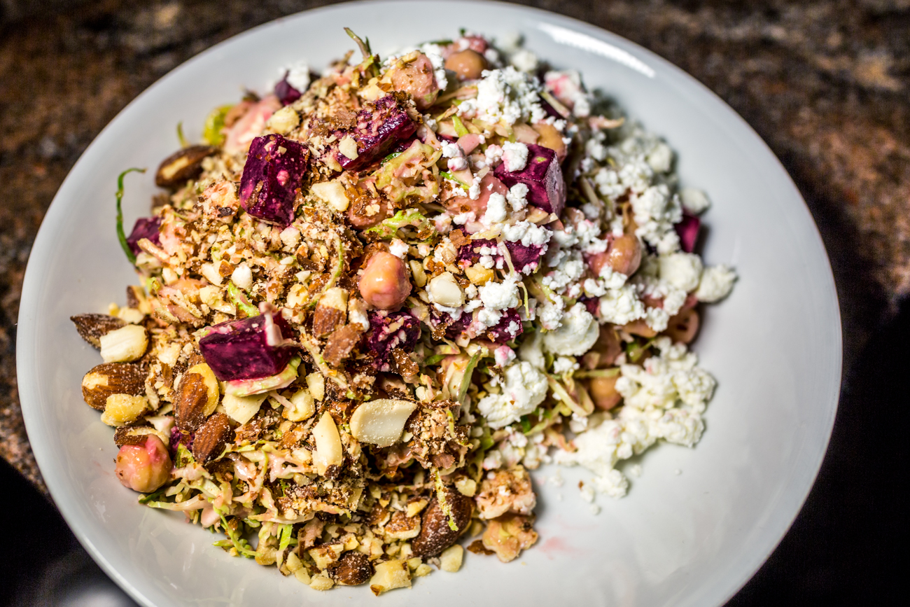 Wood Roasted Beetroot Salad: shaved brussels, goat cheese, chickpeas, almonds, and honey vin / Image: Catherine Viox // Published: 9.5.19