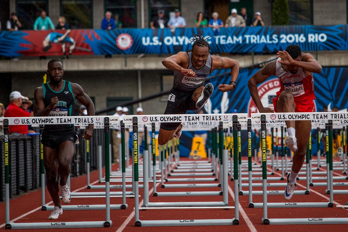 Coastal Carolina Desmond Wallace, Nike�s Aries Merritt, and Houston Cougars Issac Williams attempt their final hurdles as they race to the finish in the prelims of the men�s 110 meter hurdles. Day Eight of the U.S. Olympic Trials Track and Field continued on Friday at Hayward Field in Eugene, Ore. and will continue through July 10. Photo by Katie Pietzold