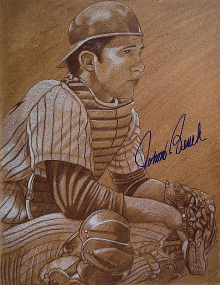 An autographed portrait of Hall-of-Famer Johnny Bench. Naughton often meets the plays he paints portraits of. / Image: Brent Naughton // Published: 4.3.18