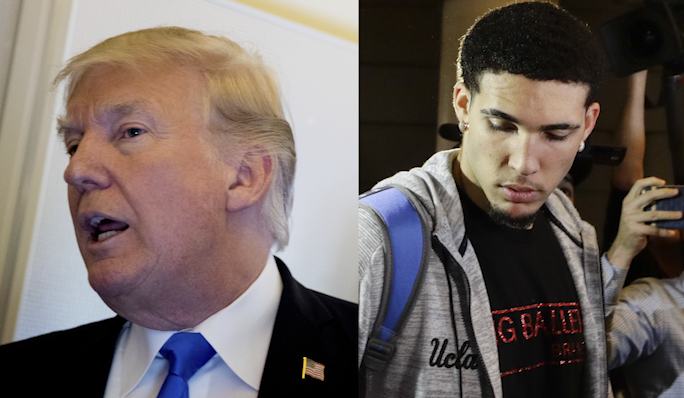 <p>President Trump and LiAngelo Ball. (Left: AP Photo/Andrew Harnik, Right: AP Photo/Jae C. Hong)</p>