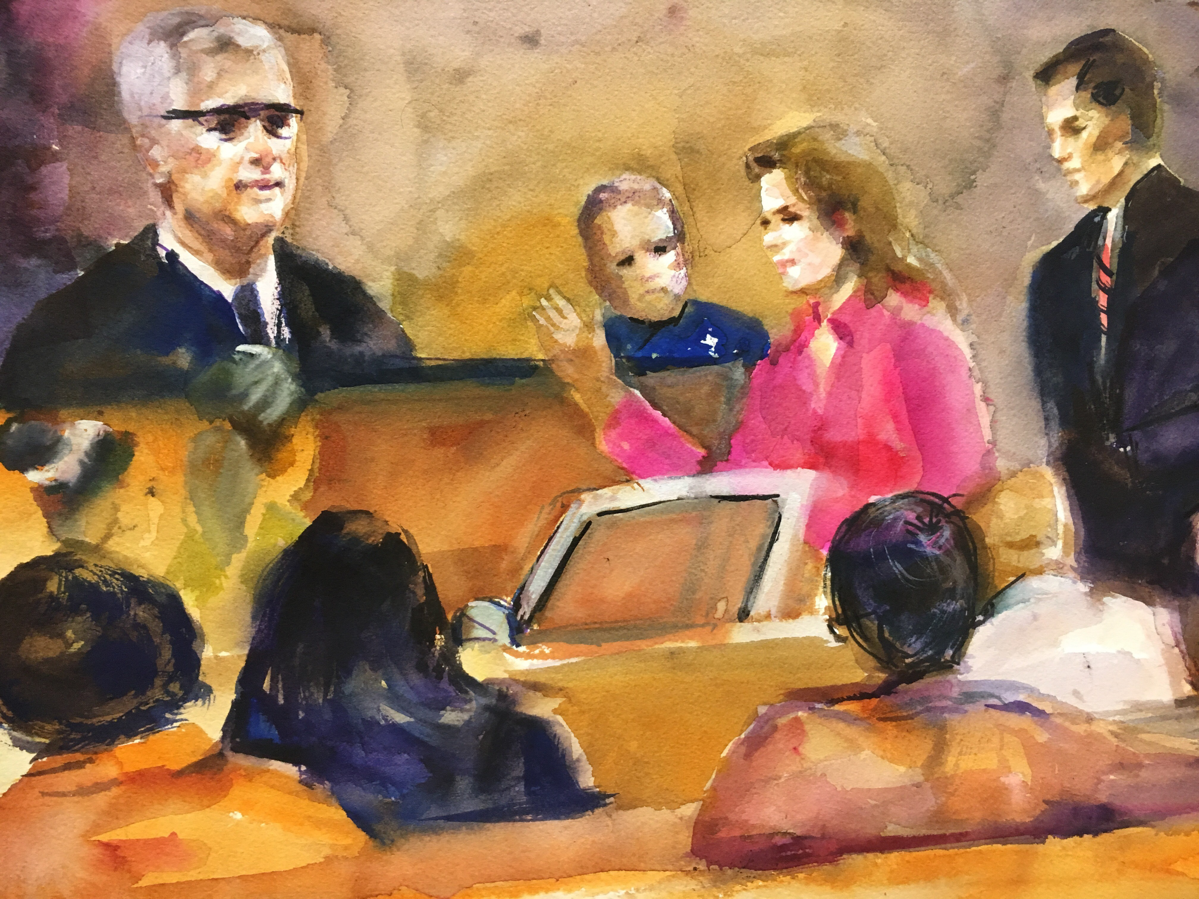 A sketch of the courtroom on the fifth day of Betty Shelby's manslaughter trial. (Courtesy of Evelyn Petroski)