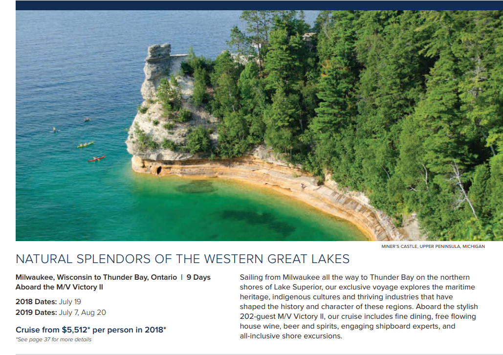 9-Day Cruise by Victory Cruise Lines includes stop in Green Bay in July 2018.