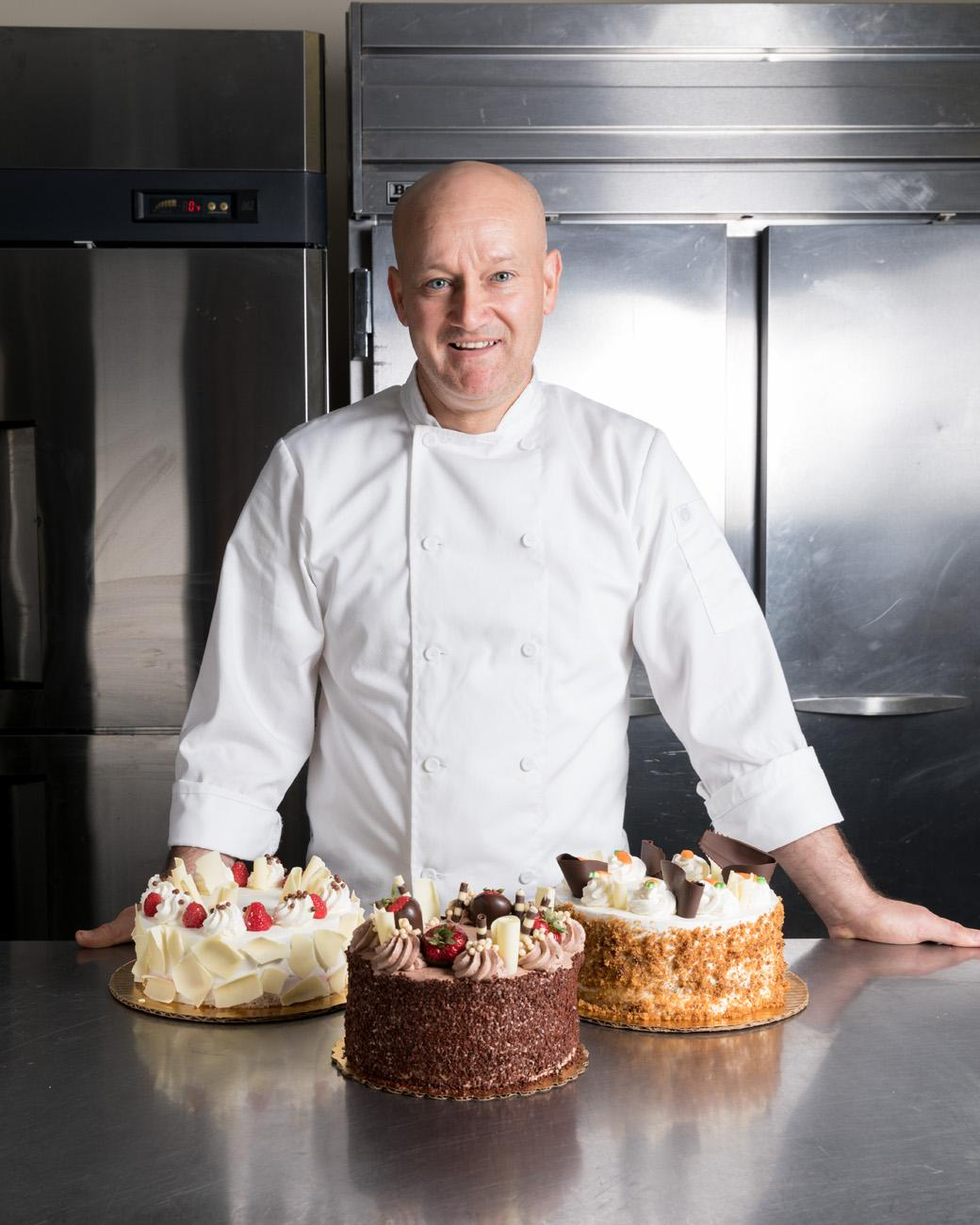 George Sias with white chocolate raspberry, dark chocolate mousse, and carrot cake / Image: Marlene Rounds // Published: 9.5.18