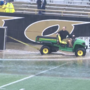 A team effort by WMU drains over 1 million gallons from the field before kickoff