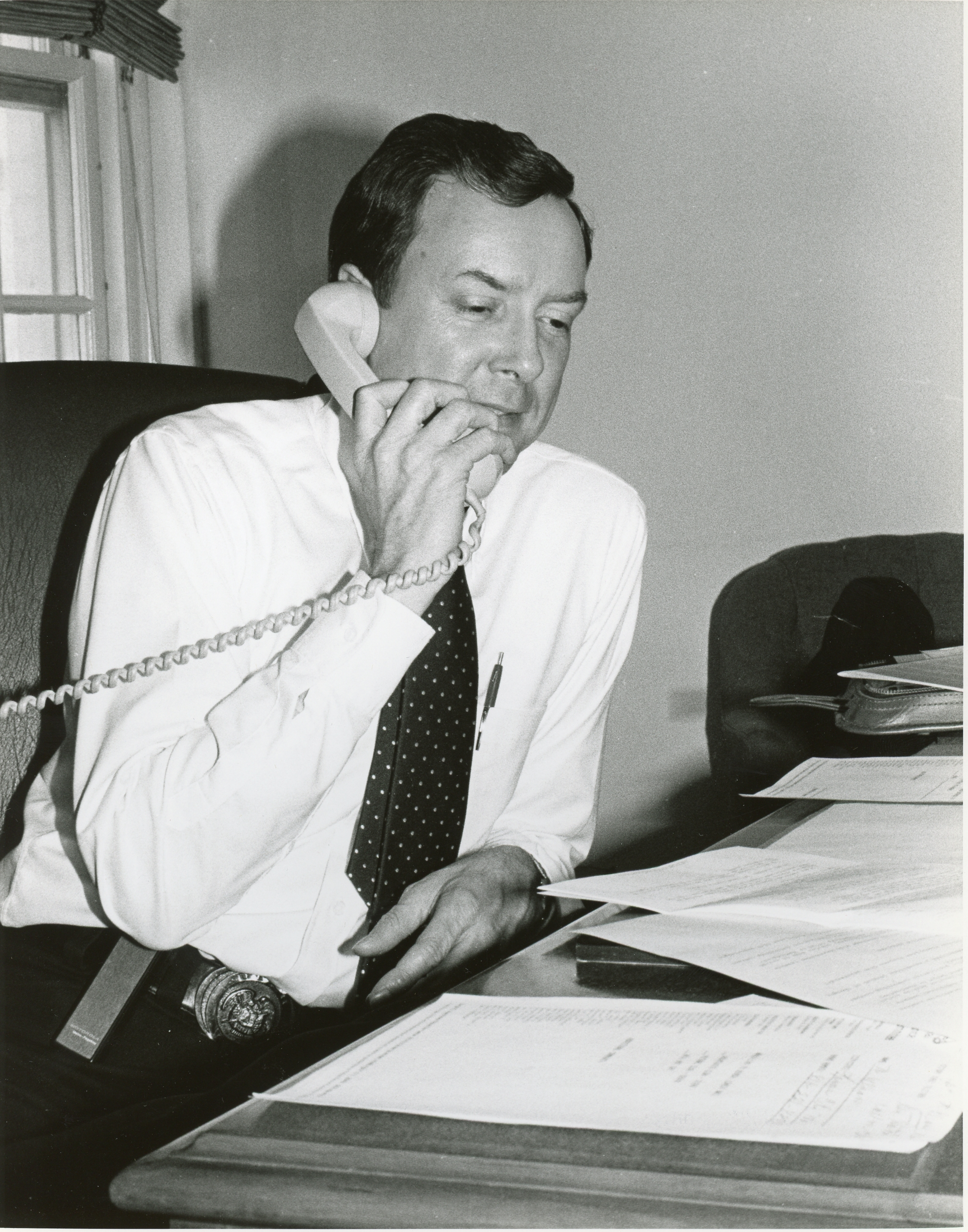 Young Hatch on phone (Photo: Courtesy Sen. Hatch's office)<p></p>