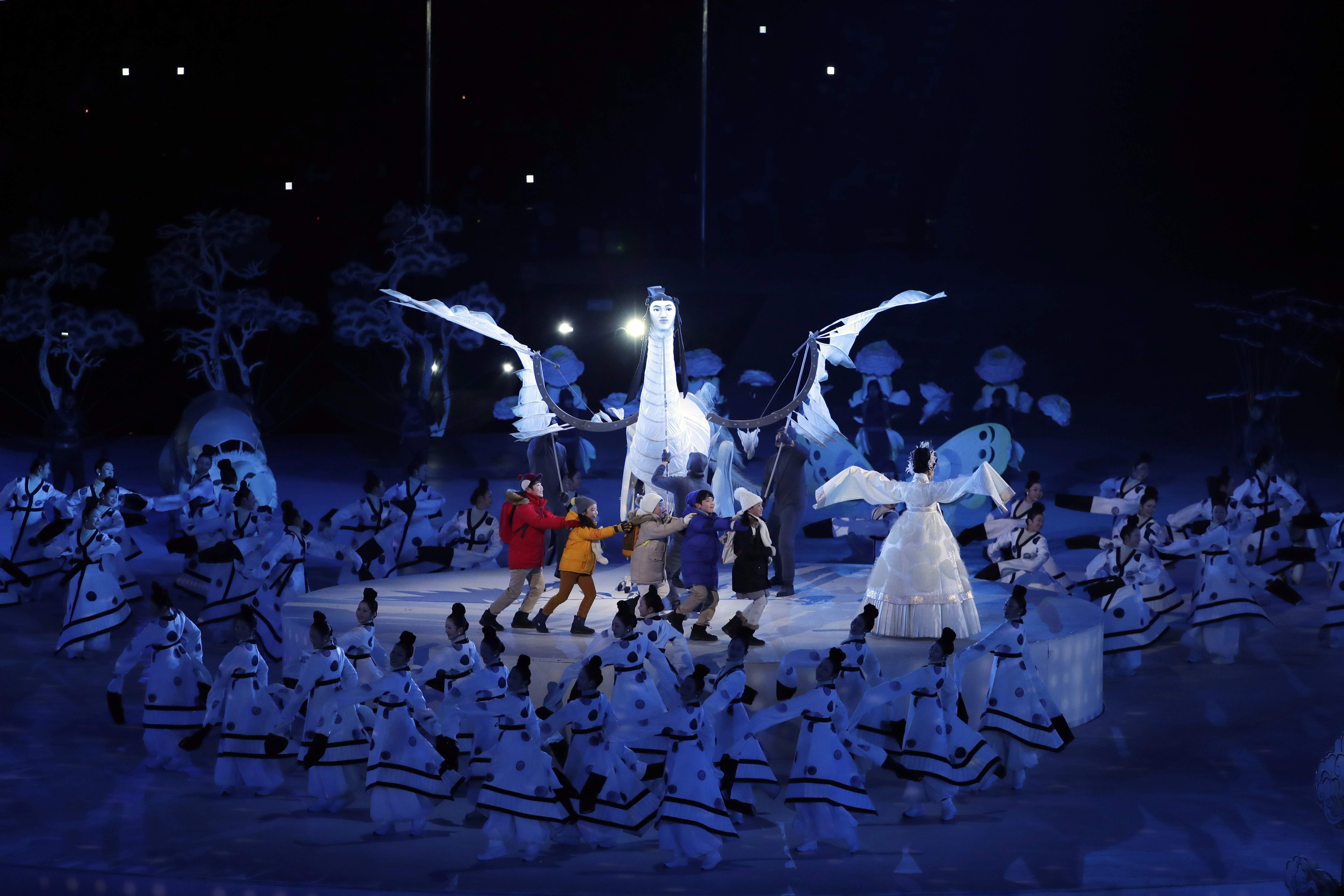 Children perform during the opening ceremony of the 2018 Winter Olympics in Pyeongchang, South Korea, Friday, Feb. 9, 2018. (AP Photo/Julie Jacobson)