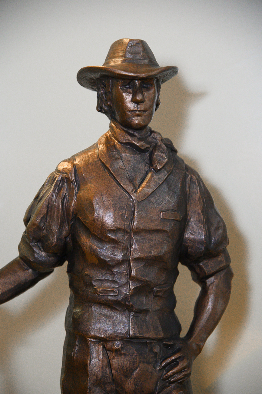 A model of a statue of John James that was designed for Rising Sun's bicentennial in 2014. He originally platted the region. The statue was never constructed. / Image: Phil Armstrong, Cincinnati Refined // Published: 1.7.20