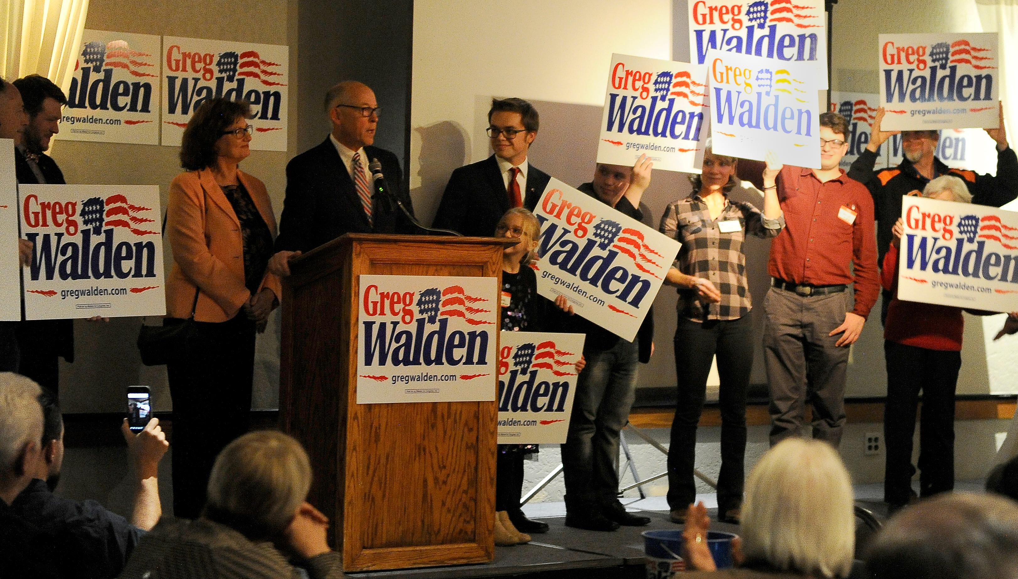 Andy Atkinson / Mail Tribune{ } Congressman Greg Walden gives a speech at the Republican party held at the Rogue Valley Country Club Tuesday evening.