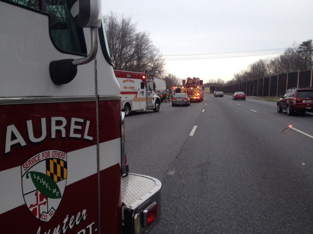 Police: Serious crash reported on I-95 in Laurel, all northbound lanes blocked (Photo Courtesy of the Laurel Volunteer Fire Department/Twitter)