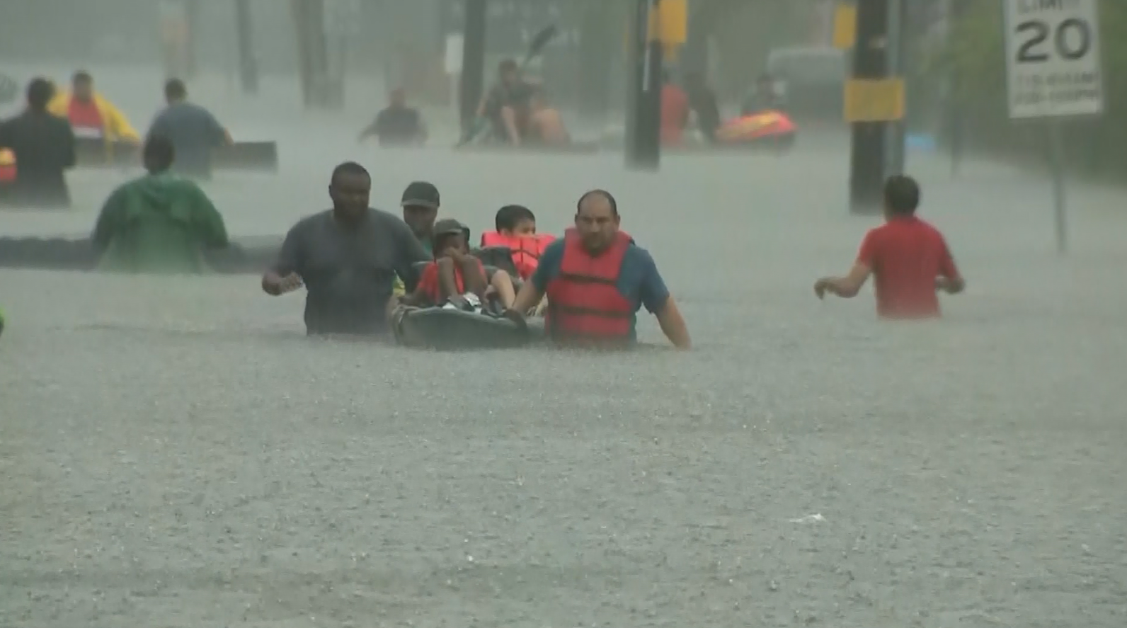 Dozens of evacuees flee flooding (KPRC/CNN)