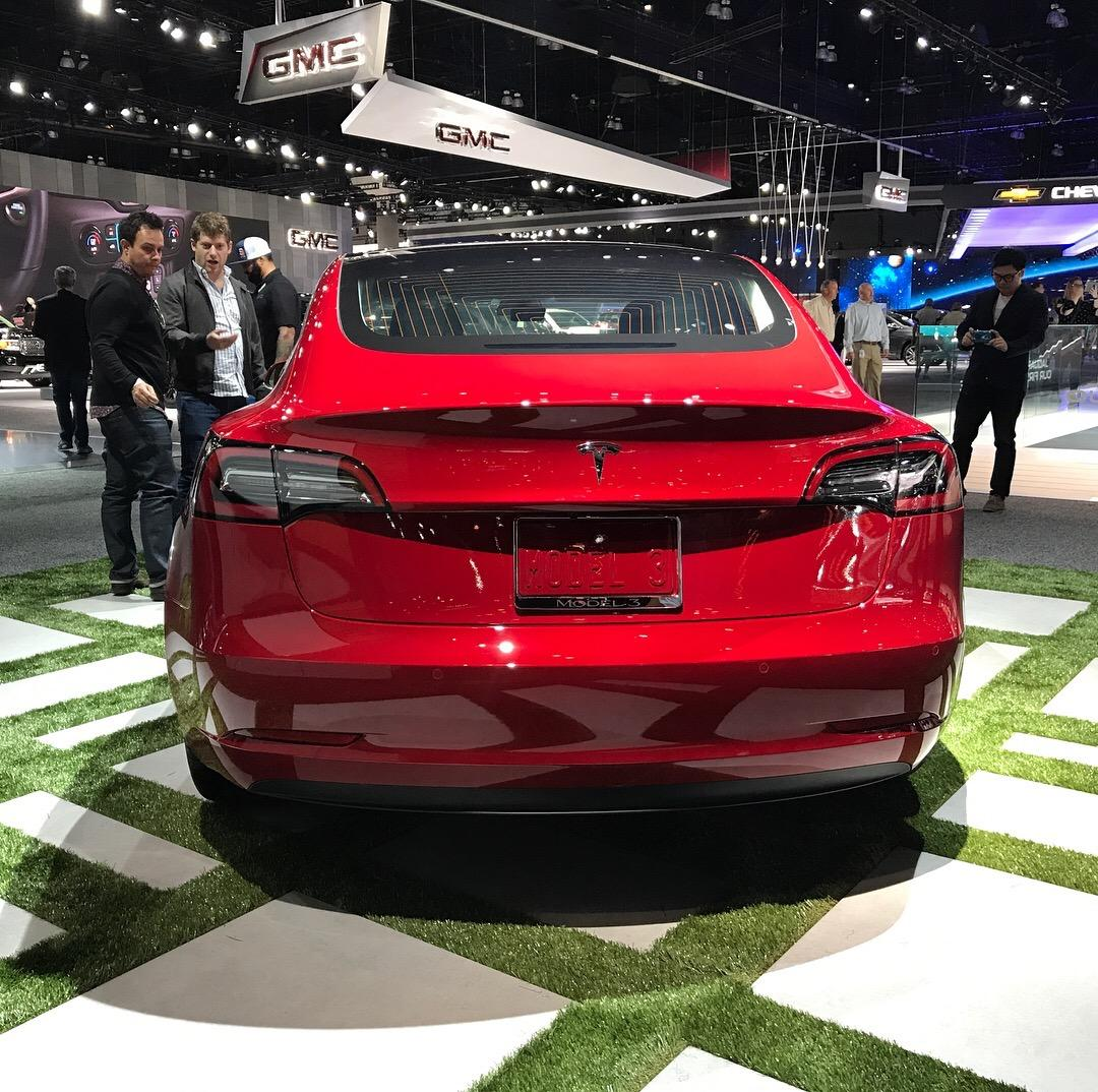 2017 Tesla Model 3 on display at the 2017 Los Angeles Auto Show (Sinclair Broadcast Group / Jill Ciminillo)