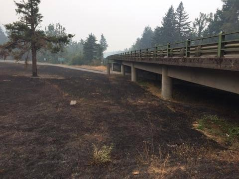 ODOT crews are working to clear I-84 and assess dangers in the area. The interstate has been closed since Monday, September 4, 2017. The Eagle Creek Fire burned close to the roadway and caused trees and rocks to slide onto the pavement. Photo courtesy ODOT