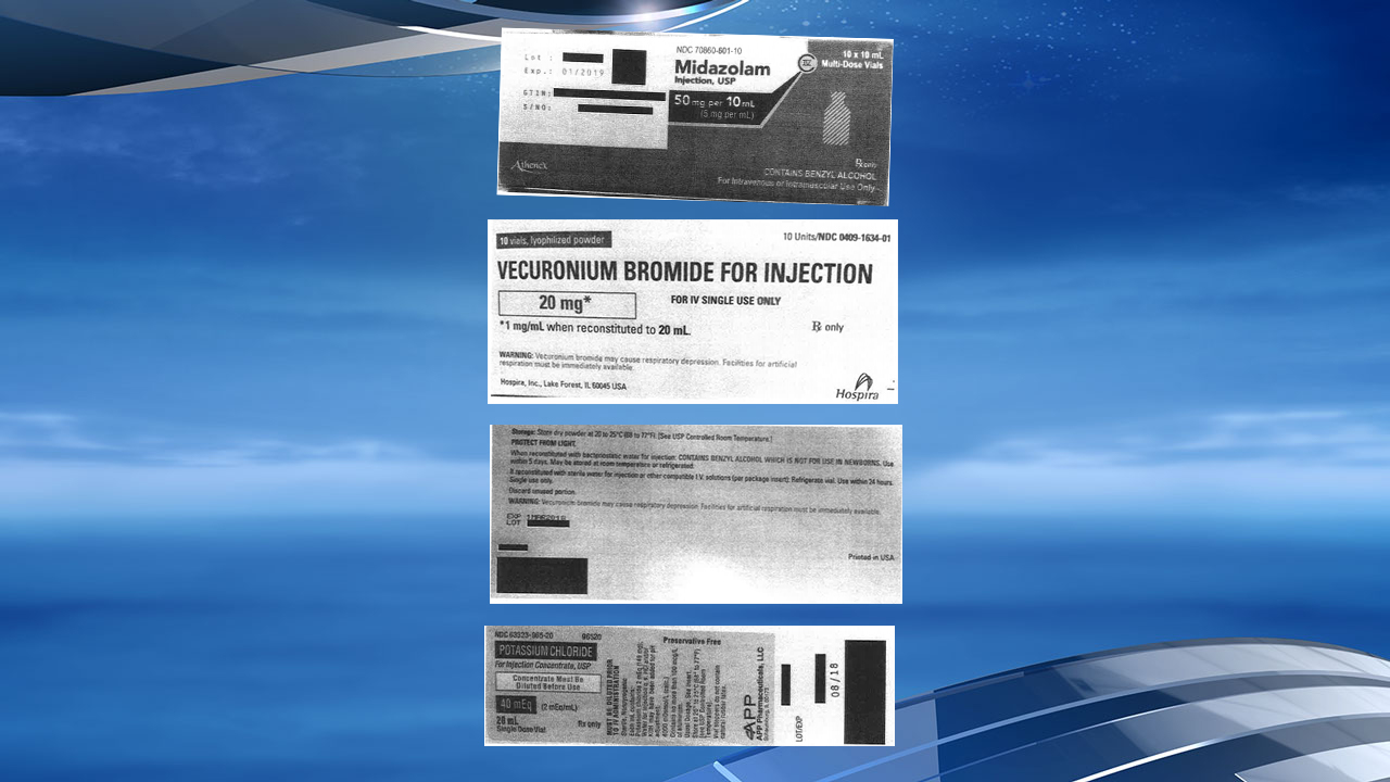 The Arkansas Department of Correction released the attached labels from drugs used in lethal injections. (Photos courtesy: Arkansas Dept. of Correction)<p></p>