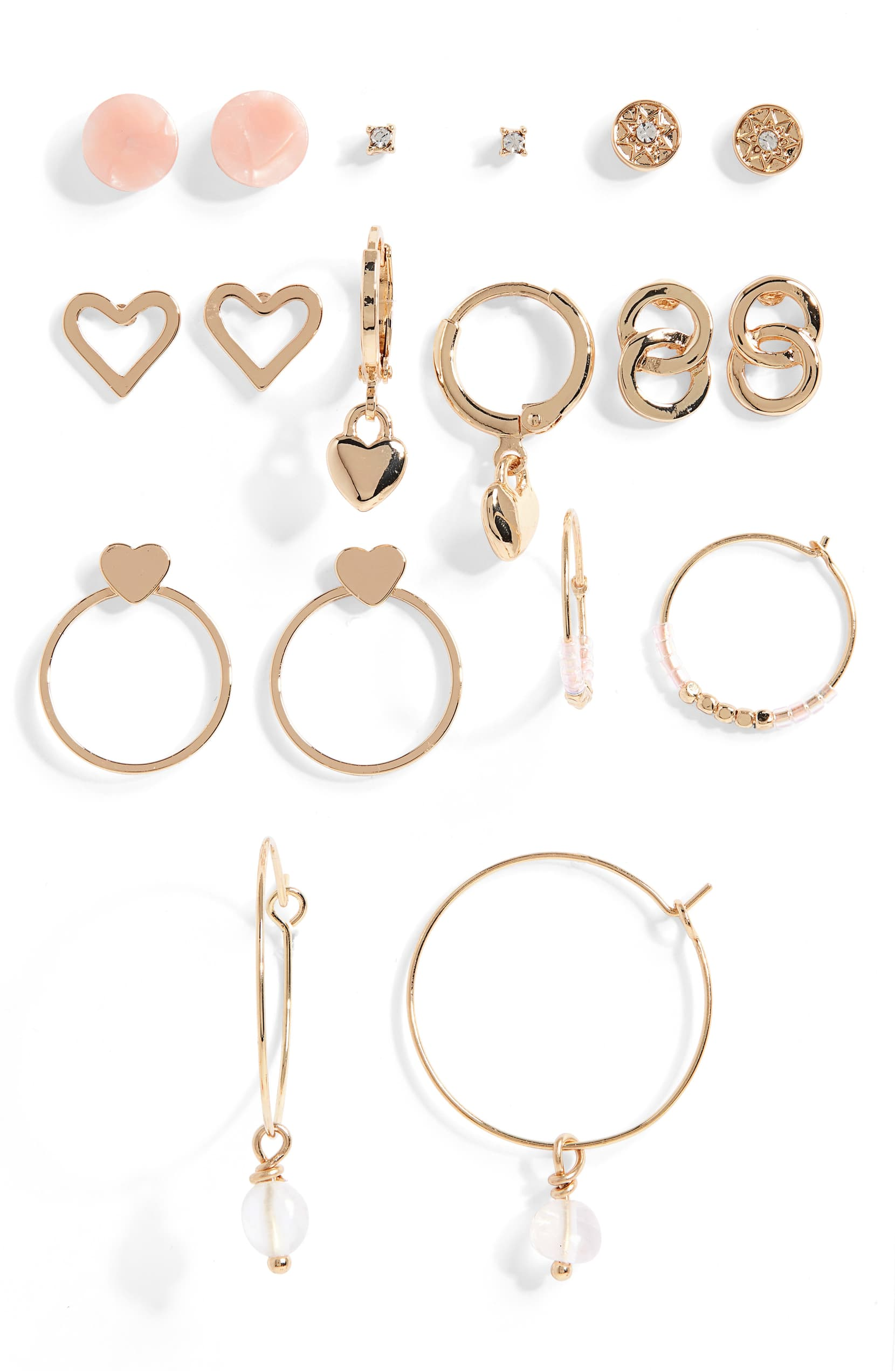 Sweet and sparkling, this set of nine pairs includes studs, huggies and hoops for a multitude of everyday looks.{ }Shop it{ }-$35 (Image: Nordstrom){ }