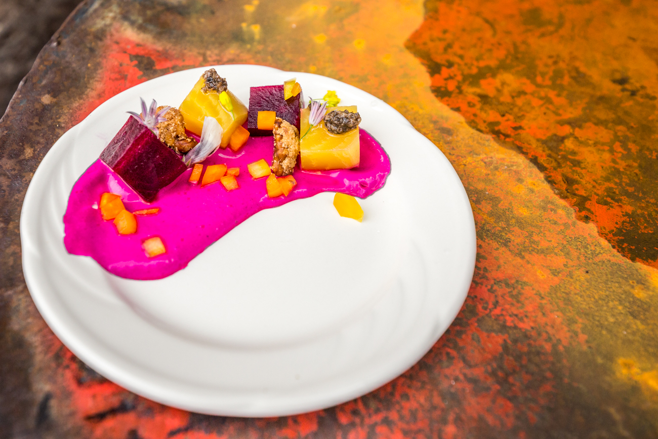 Beet Gateau: colored beets, goat cheese, walnuts, edible flowers, sprouts, black truffles, and bell peppers / Image: Catherine Viox // Published: 6.18.19