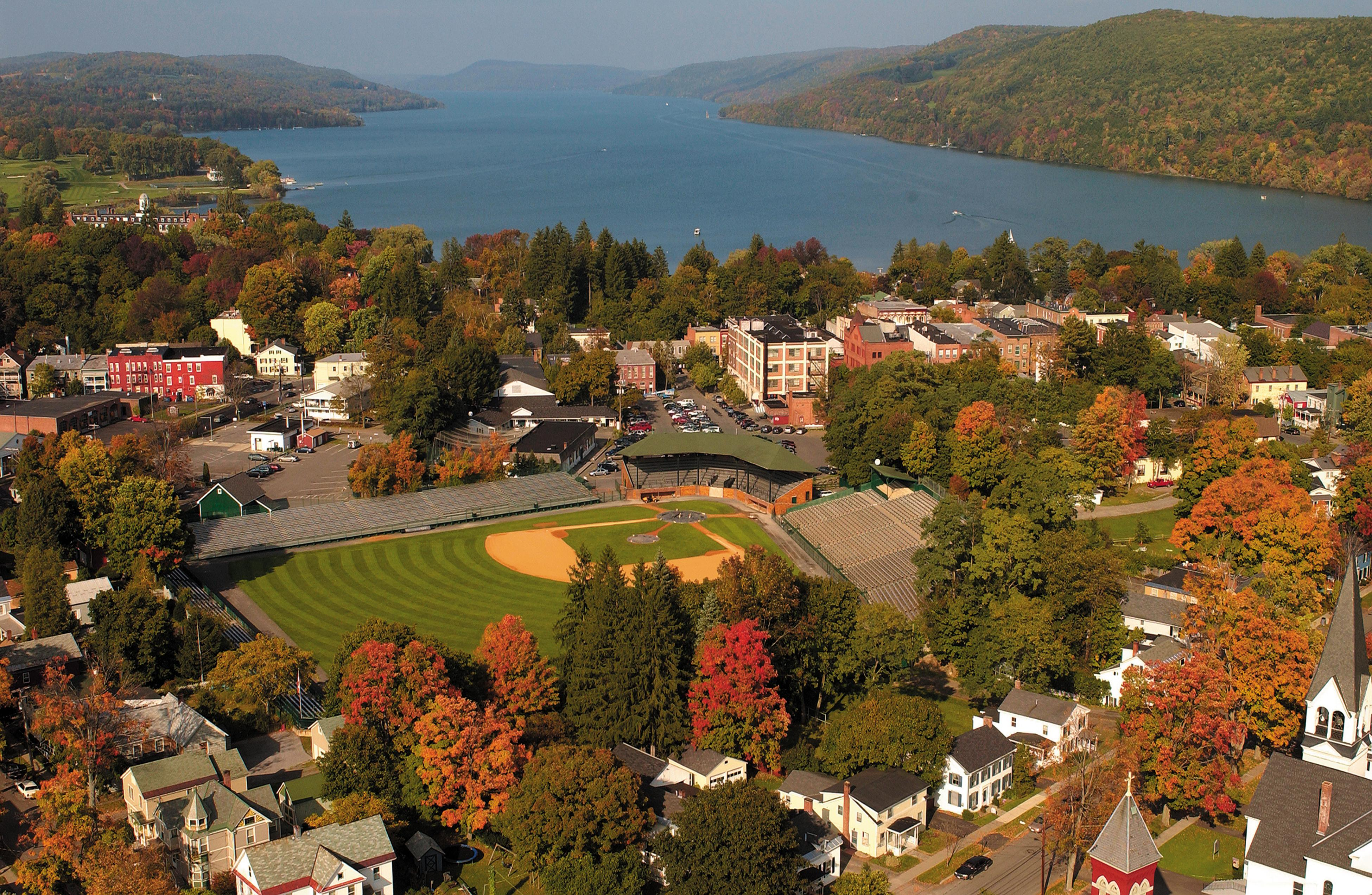 "Cooperstown is nestled between the Adirondacks and the Catskills in Central New York. It's a one-stoplight town void of fast food outlets or mall stores. The town likes to say of all its attractions, its authenticity is the greatest and it has been nicknamed ""America's Most Perfect Village.""  (Image: National Baseball Hall of Fame and Museum)"
