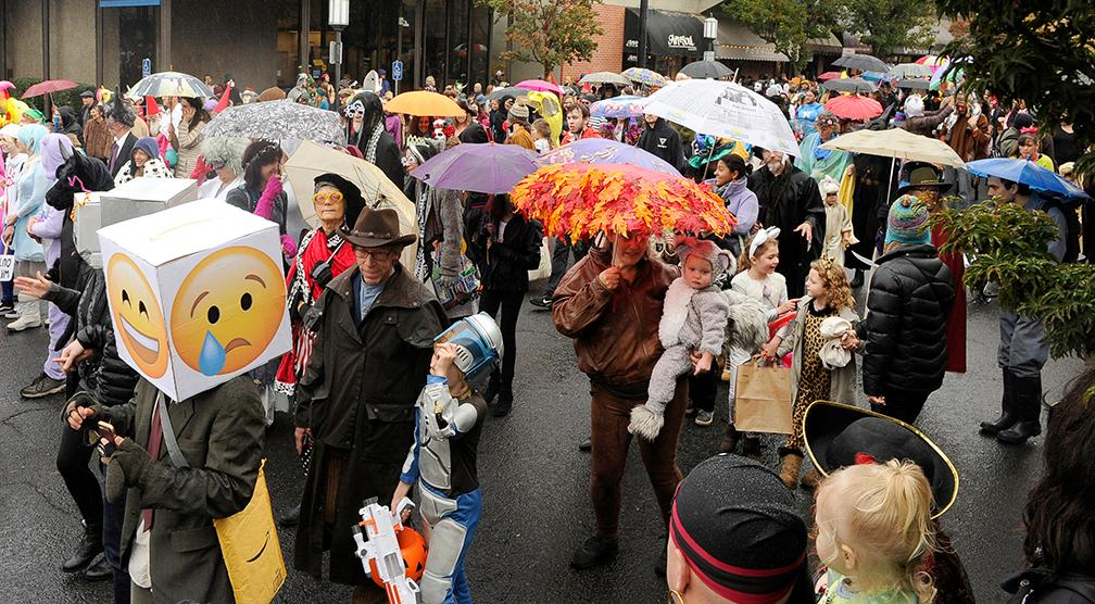 Andy Atkinson / Mail TribuneRain didn't stop hundreds to show up for the Ashland Halloween parade Wednesday afternoon.