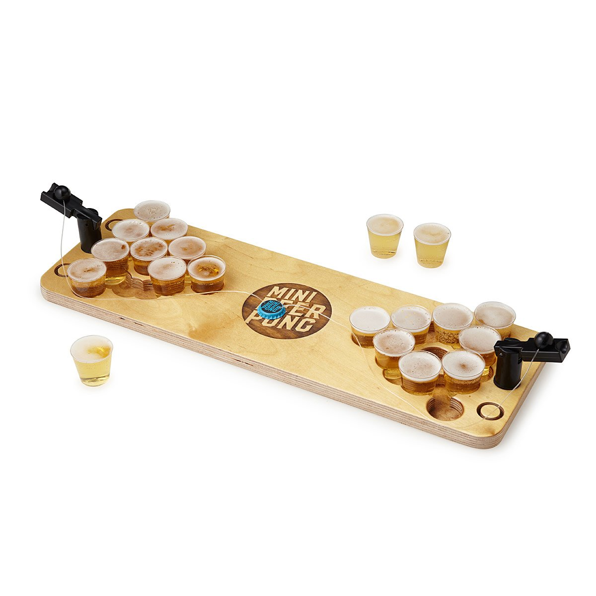<p>YASSSSS, take that man back to his college days with this Mini Beer Pong. A dorm room classic grows up in this mini version of beer pong that sports catapults and a birch wood base. $60.00{&nbsp;} (Image: Uncommongoods){&nbsp;}</p><p></p>