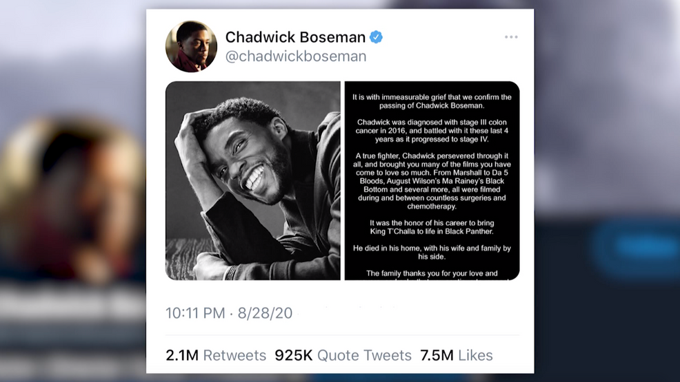 Chadwick Boseman's final Twitter post announcing his death is the most retweeted of 2020