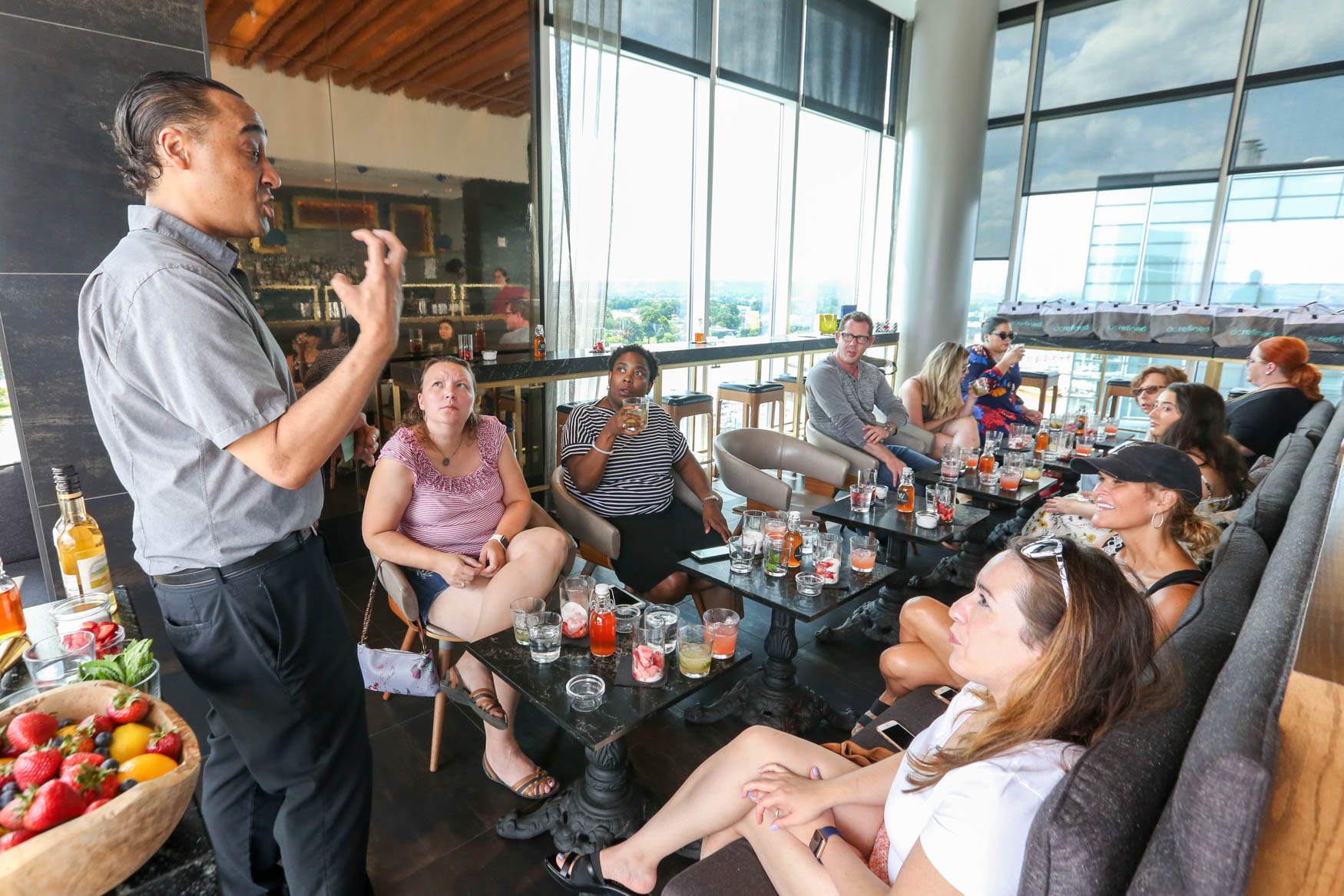 Over a dozen people joined us at Whiskey Charlie on July 29 for a class on making cocktail shrubs - a vinegar based mixer that takes cocktails to the next level. Guests got to enjoy two cocktails, socializing over a gorgeous view from The Wharf, gift bags and raffle prizes. If you missed out on this class, never fear - we'll be hosting another event at Whiskey Charlie in early September.{ } (Amanda Andrade-Rhoades/DC Refined)
