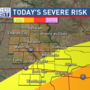 Heavy rain, isolated strong storms today