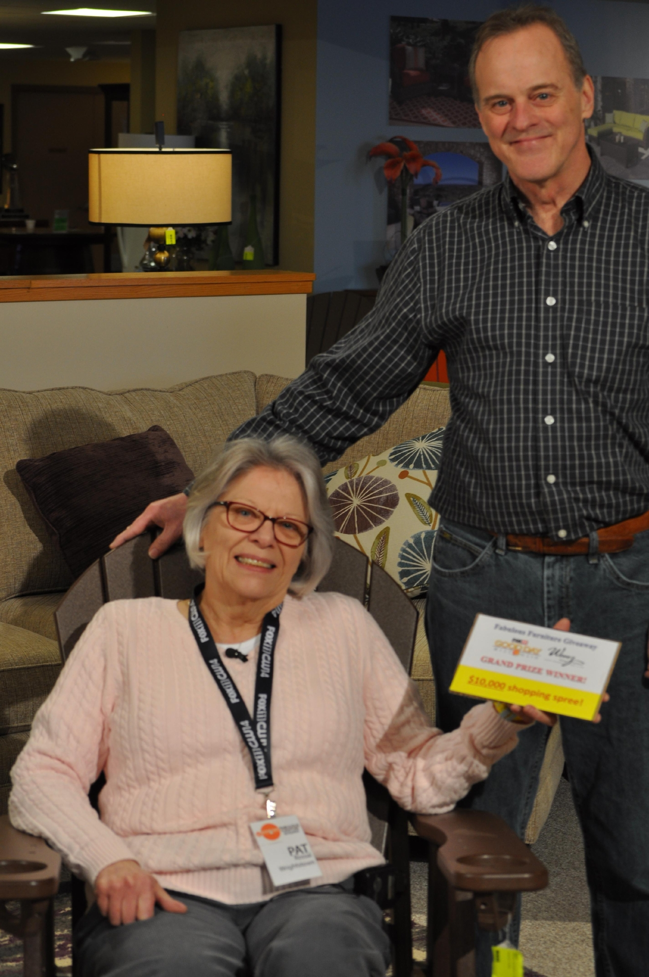 Fabulous Furniture Giveaway Winner Pat Rossal Poses For A Photo, March 2,  2016,