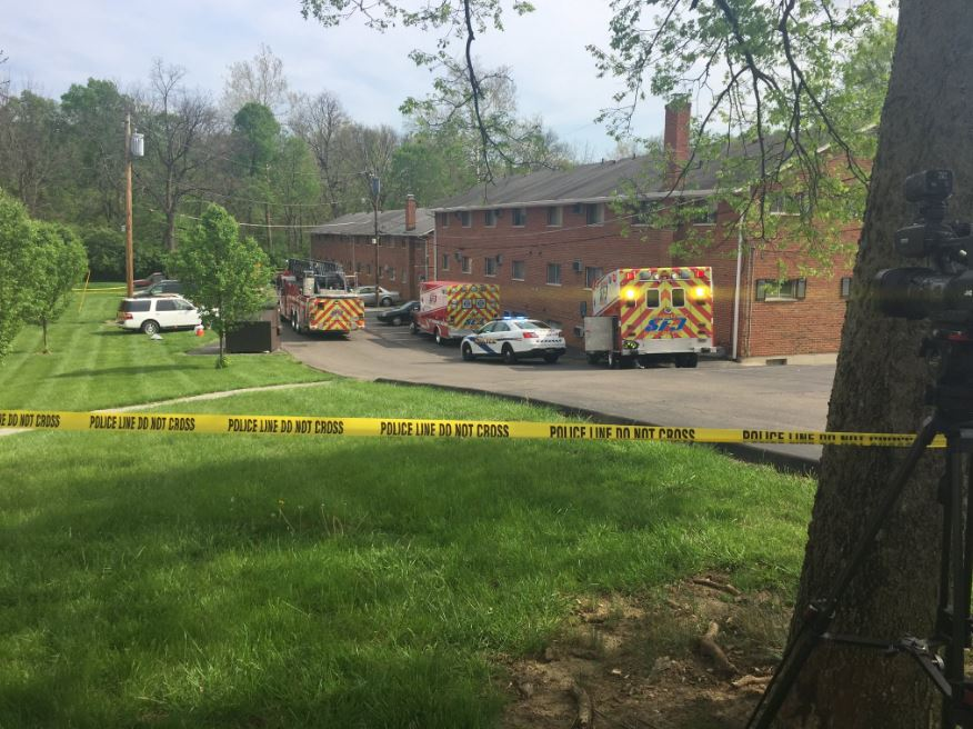 Police and firefighters were called to an apartment complex on Lebanon Road in Sharonville to reports of a car fire Wednesday afternoon.  A body was found inside the car. (Angela Ingram, WKRC)
