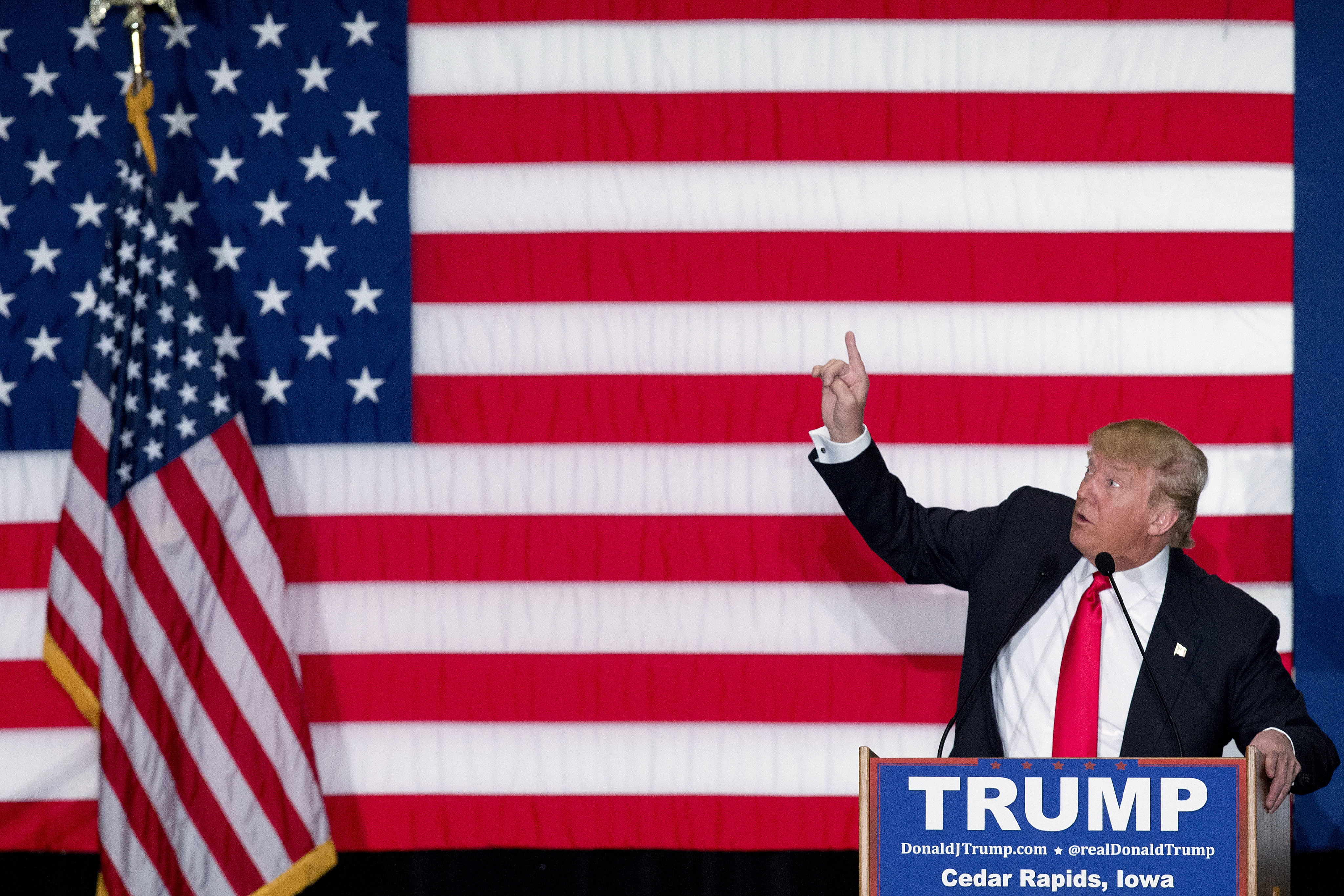 Republican presidential candidate Donald Trump speaks during a campaign event, Monday, Feb. 1, 2016, in Cedar Rapids, Iowa. (AP Photo/Mary Altaffer)