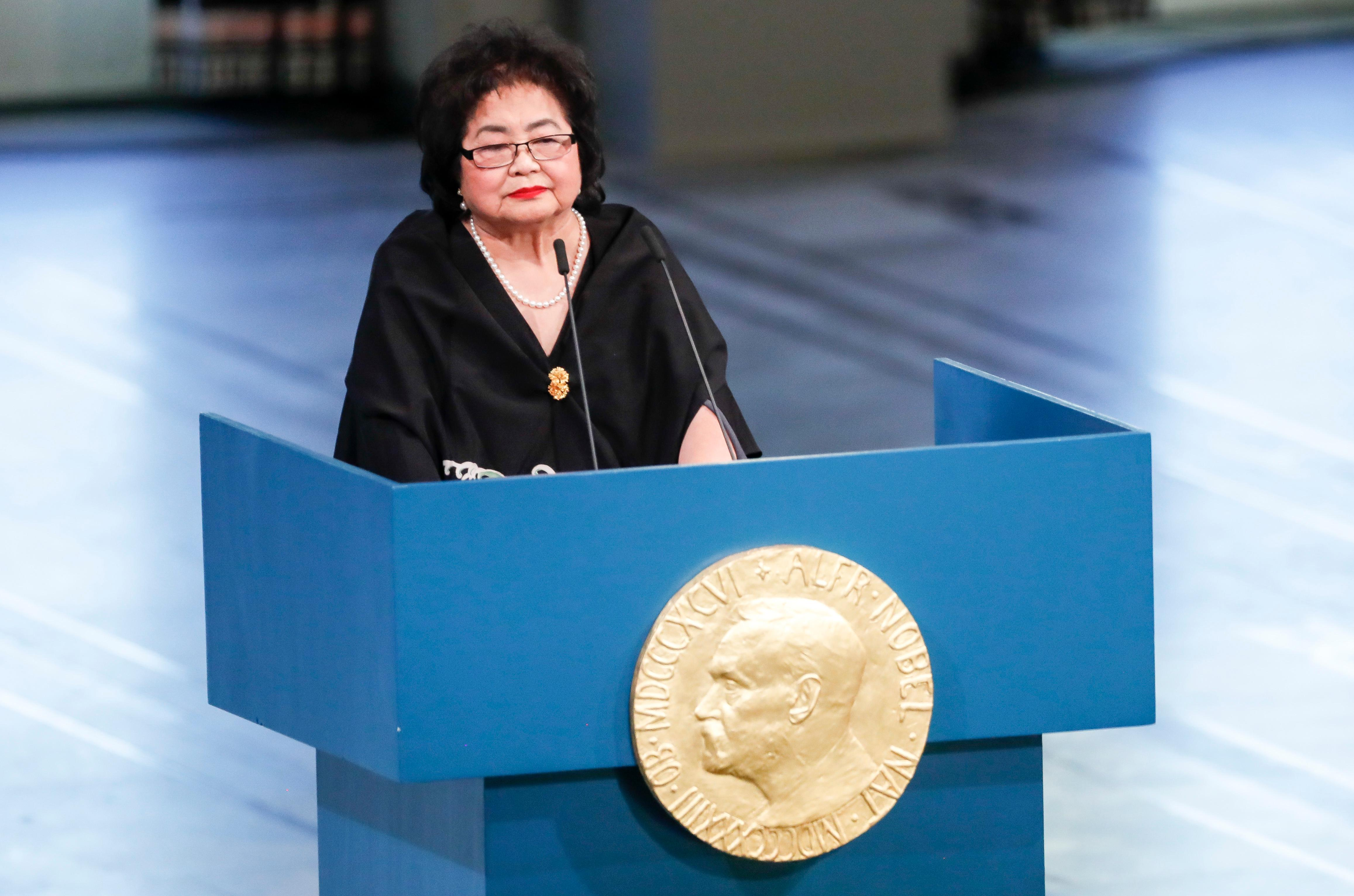 International Campaign to Abolish Nuclear Weapons (ICAN), activist and Hiroshima survivor Setsuko Thurlow speaks in Oslo City Hall after the ICAN officially received the Nobel Peace Prize 2017, in Oslo, Norway. (Terje Bendiksby/ NTB scanpix via AP)
