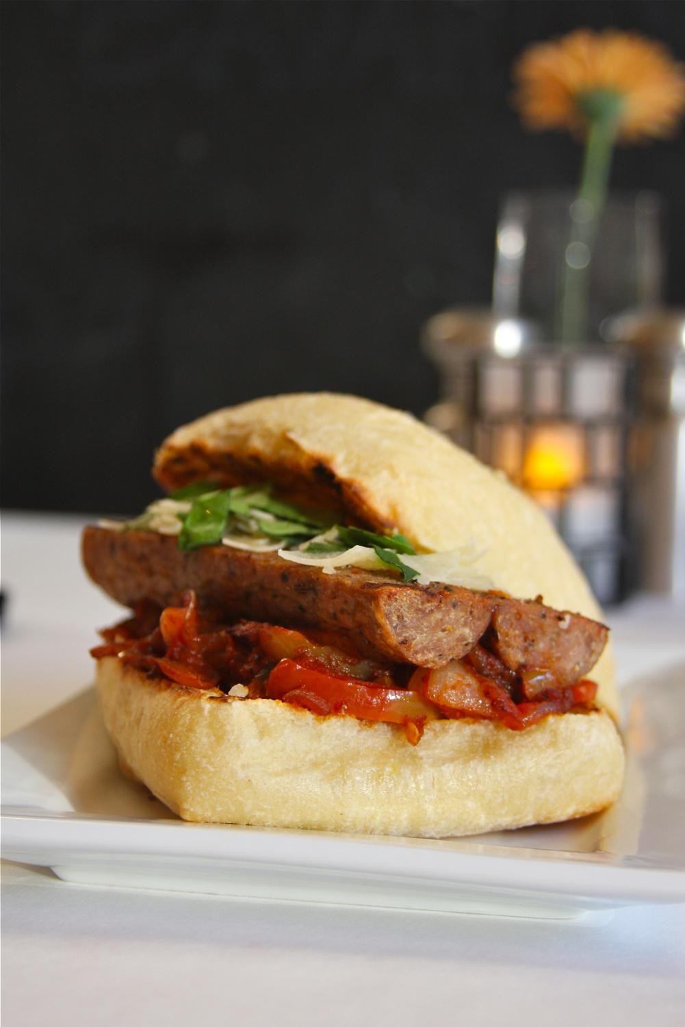 House-made sausage & peppers: grilled sausage, peppers, onions, romano cheese, and ciabatta / Image: Molly Paz / Published: 11.22.16