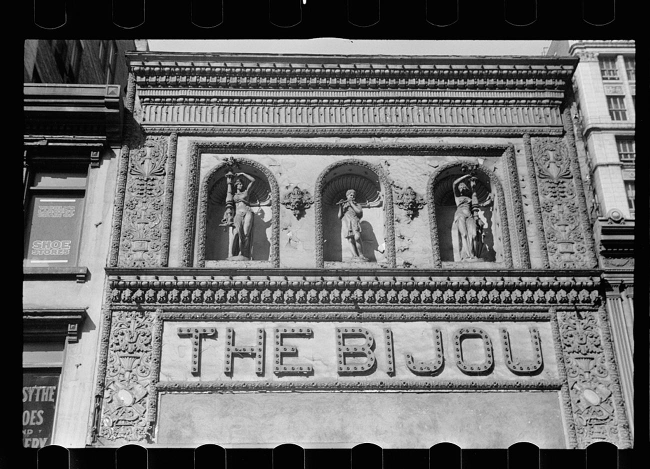 """Old playhouse, Cincinnati, Ohio"" shows the Bijou Theatre in October 1938{ }/ Image: John Vachon for the U.S. Farm Security Administration/Office of War Information accessed via the Library of Congress Archives // Published: 3.4.19"