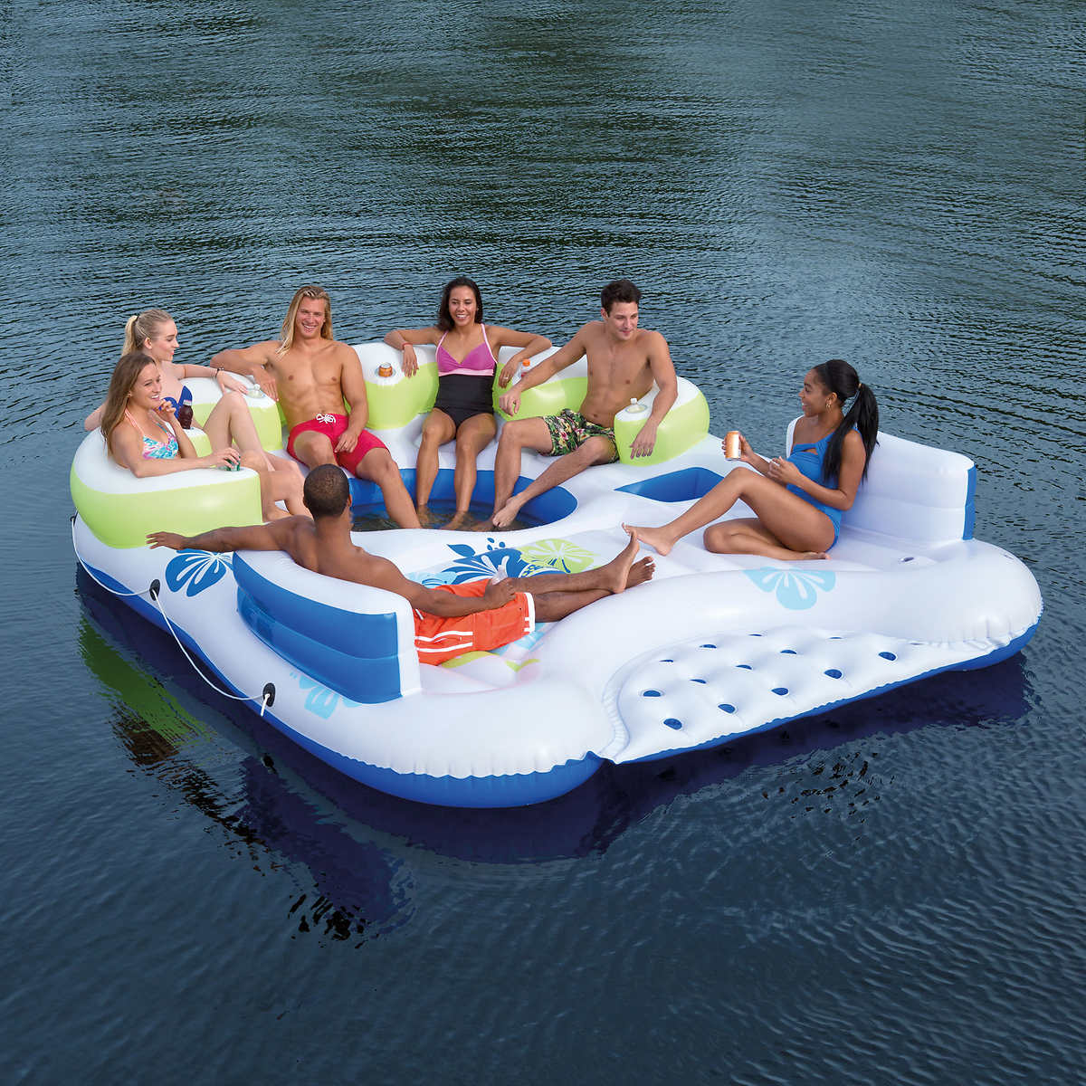 Tiki Breeze Floating Island: Gather up the whole crew and form your own island away from all the madness. The island comes complete with 6 cup holders and two built in ice buckets. Buy it at Costco for $169.99. (Photo: Courtesy Costco)