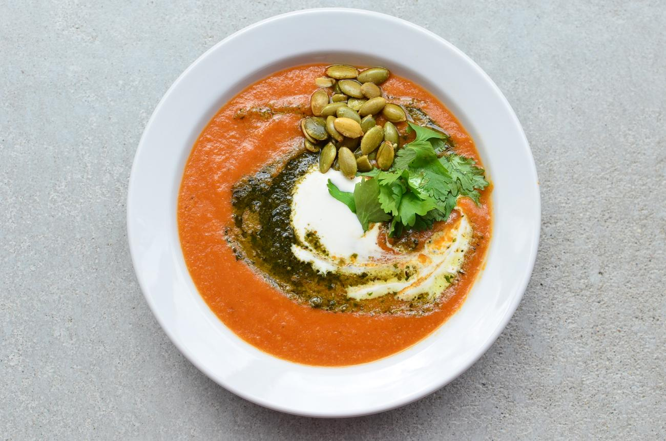 Corn and Roasted Pepper Bisque - roasted corn, leeks, roasted peppers, herb pesto, pipits and crema / Image: Leah Zipperstein, Cincinnati Refined // Published: 9.25.17