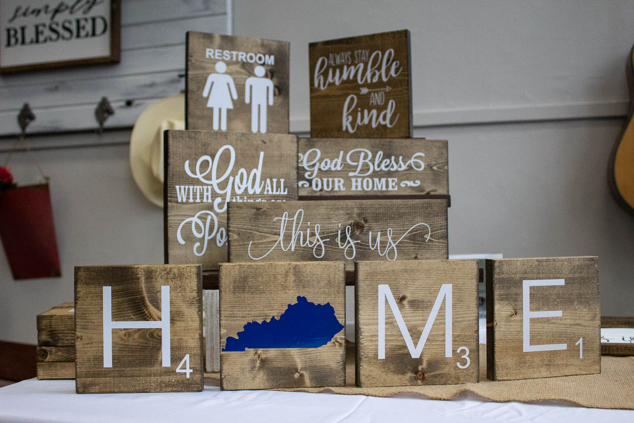 Danielle Warner of 123 Vinyl Street sells Scrabble wall tiles and other signs that can be customized to say or spell out whatever you want. She also set up a table in Hazel's shop. You can send requests to vinylstreet@outlook.com. / Image: Katie Robinson, Cincinnati Refined // Published: 3.13.19