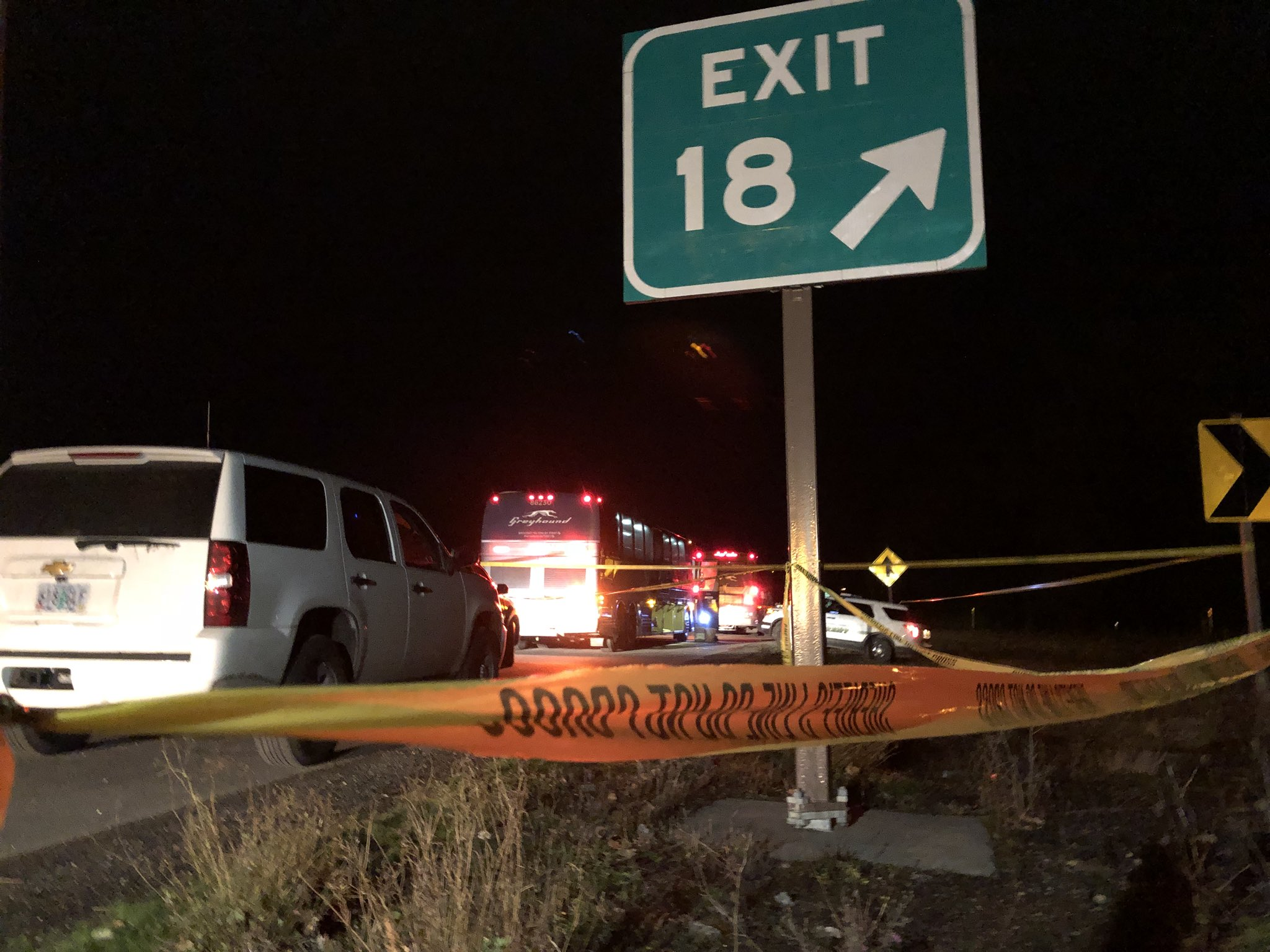 Two people were stabbed on a Greyhound bus near Troutdale the night of Wednesday, Nov. 30, 2017, according to Multnomah County Sheriff's Office. KATU photo