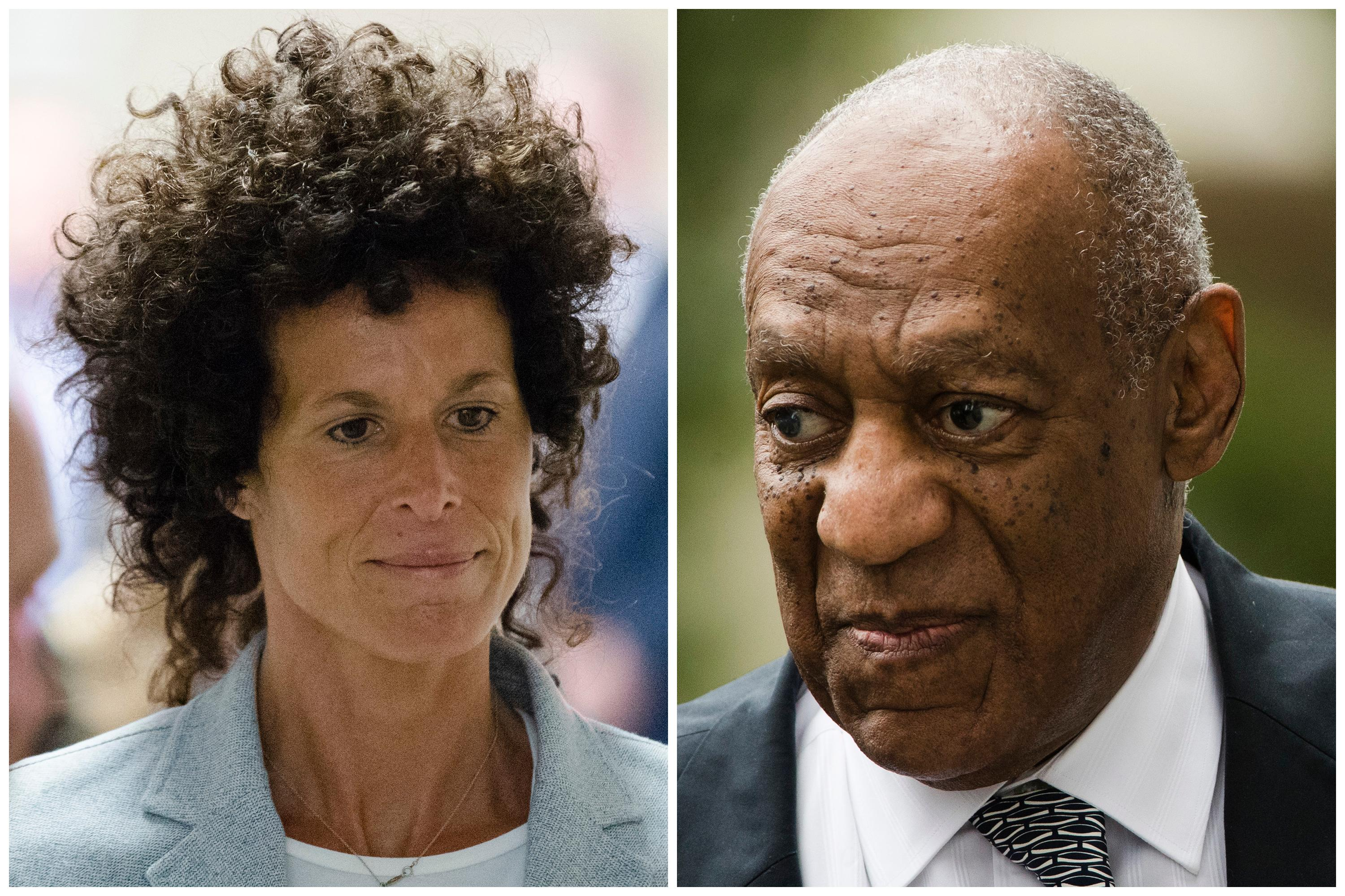 FILE - This combination of file photos shows Andrea Constand, left, walking to the courtroom during Bill Cosby's sexual assault trial June 6, 2017, at the Montgomery County Courthouse in Norristown, Pa.; and Bill Cosby, right, arriving for his sexual assault trial June 16, 2017, at the Montgomery County Courthouse in Norristown. Cosby is set to attend a Monday, March 5, 2018, pretrial hearing leading up to the entertainer's retrial on charges he drugged and sexually assaulted Constand at his home near Philadelphia. Prosecutors are seeking to call as many as 19 other accusers to the witness stand during the retrial, in an attempt to show Cosby had a five-decade pattern of drugging and harming women. (AP Photo/Matt Rourke, File)