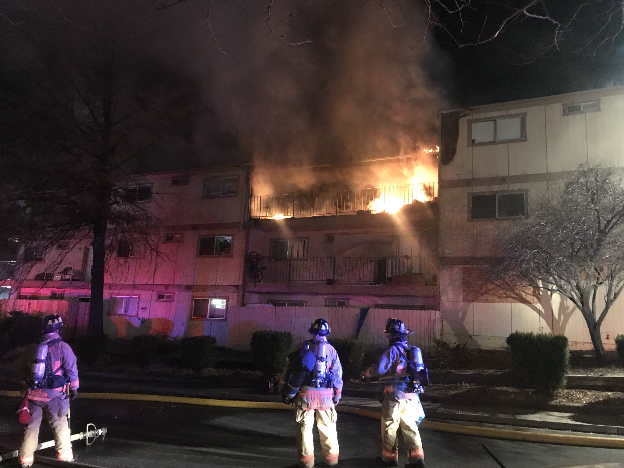 Two dead after three alarm fire at Stardust Apartments in northwest Reno (Photo courtesy: Reno Fire Department)<p></p>