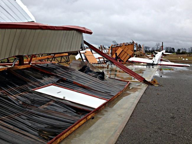 Damage at Addison Municipal Airport in Winston County.